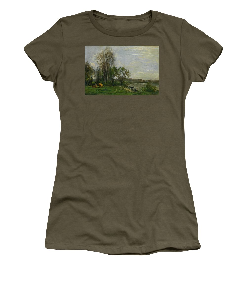 Animal Women's T-Shirt featuring the painting The Banks Of The Oise by Charles-Francois Daubigny