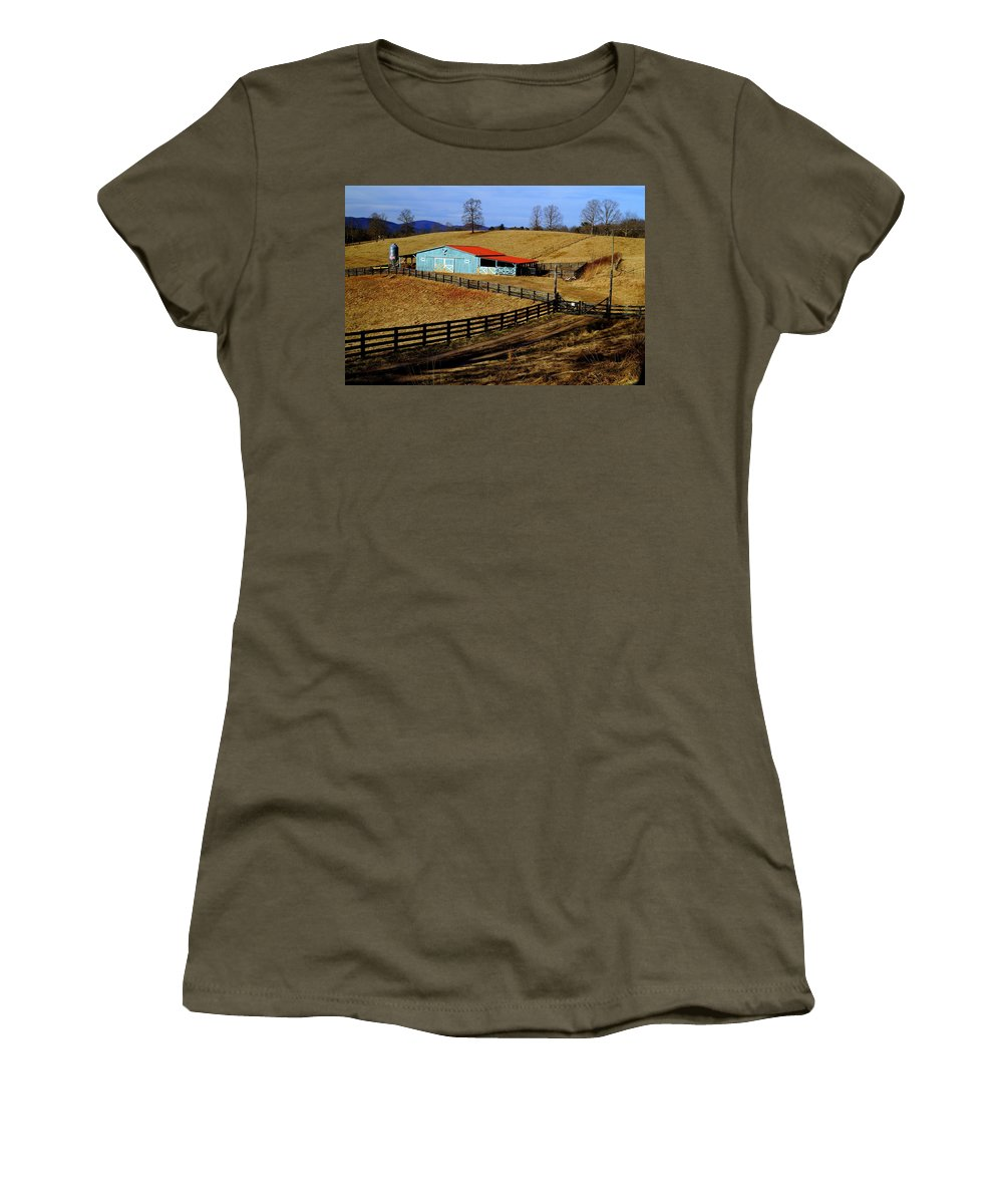 Winter Women's T-Shirt featuring the photograph The Barn In Winter by John Wall