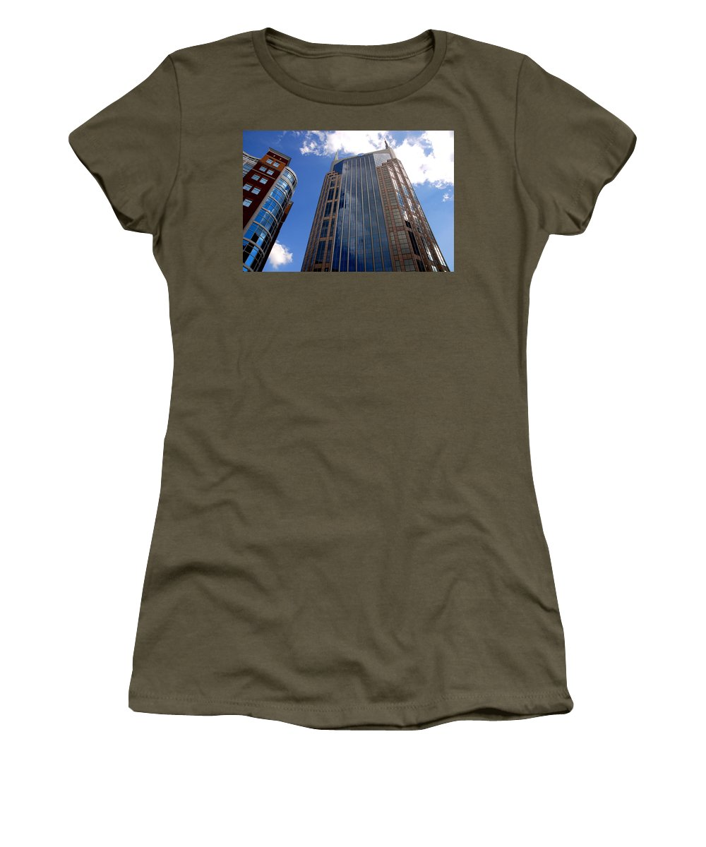 Att House Women's T-Shirt (Athletic Fit) featuring the photograph The Batman Building Nashville Tn by Susanne Van Hulst