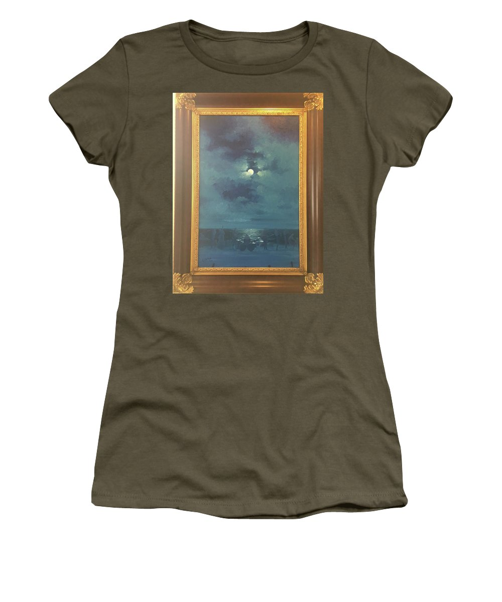 Moon Light At Beach Women's T-Shirt featuring the painting The Beach by Ray Pazekian