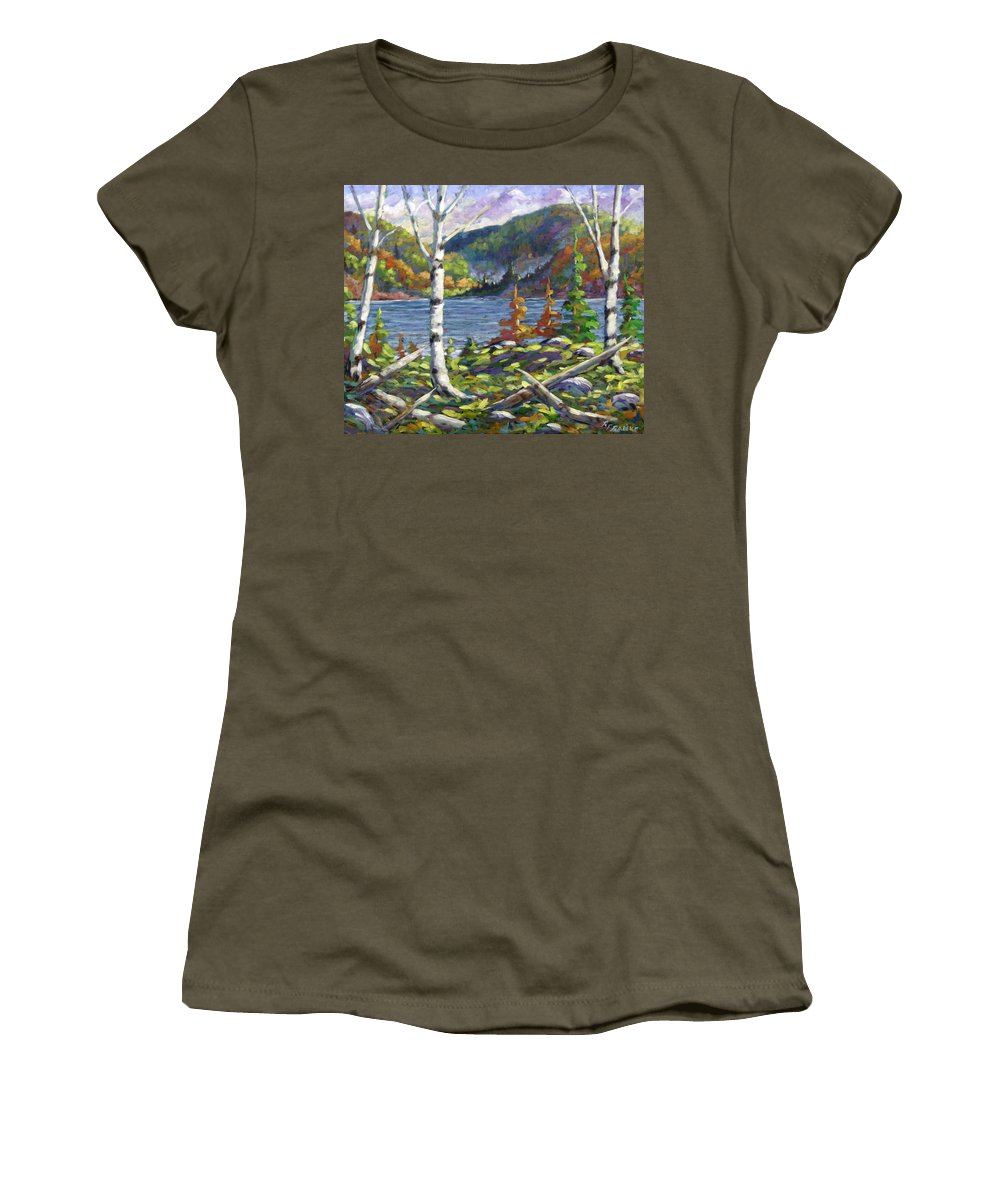 Art Women's T-Shirt (Athletic Fit) featuring the painting The Birches by Richard T Pranke