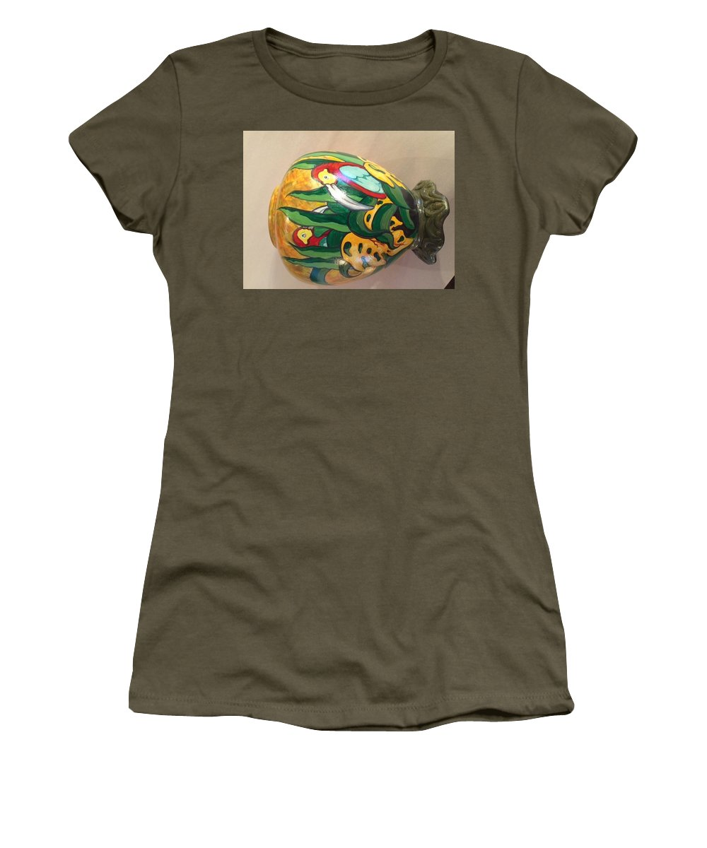 Unique Hand Painted Acrylic On Ceramic Women's T-Shirt featuring the ceramic art The Birds by Ray Pazekian