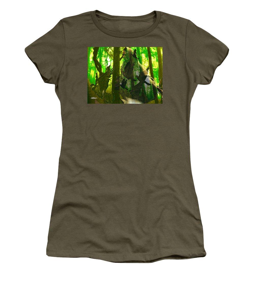 Birdwoman Women's T-Shirt featuring the digital art The Birdwoman by Seth Weaver