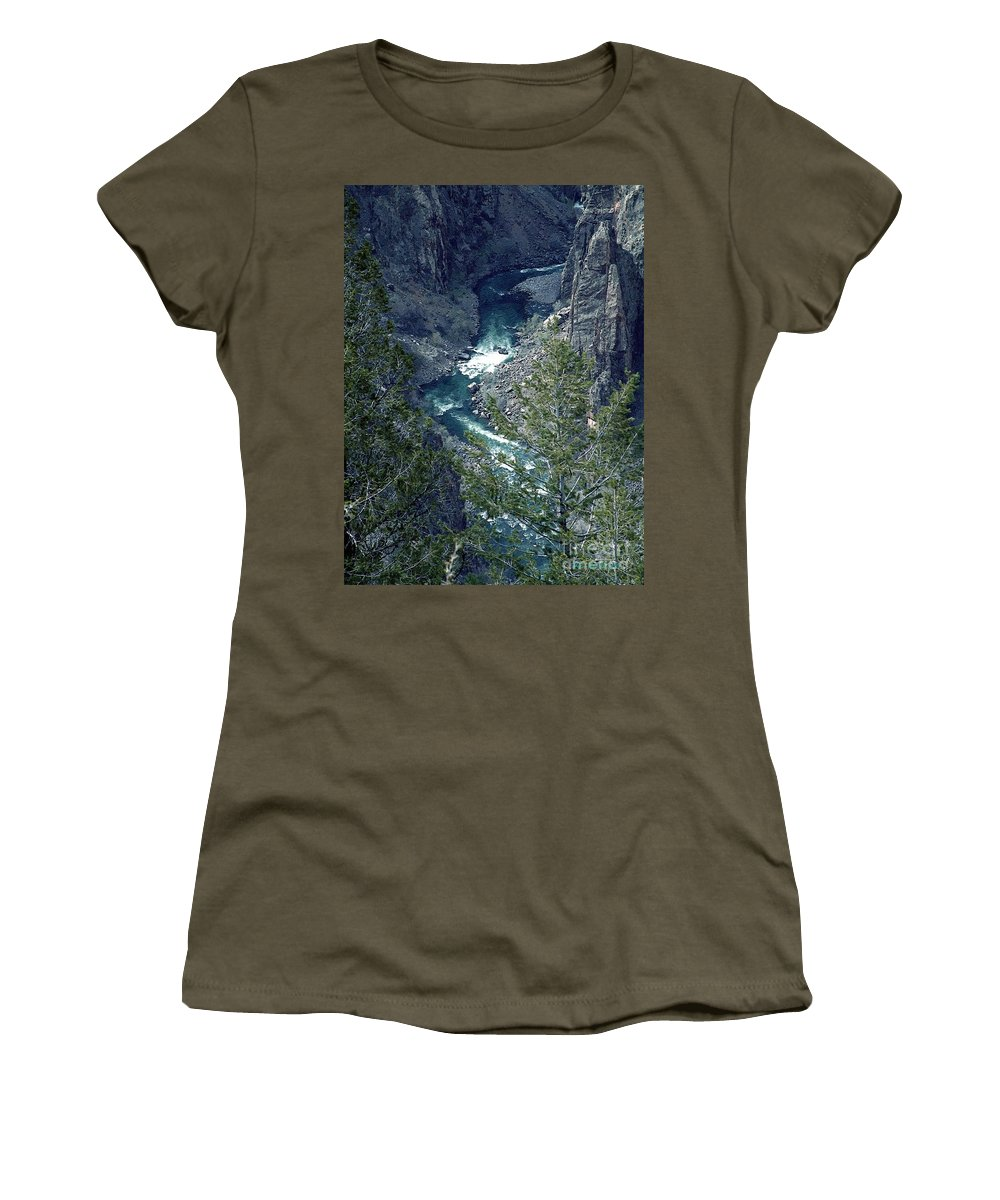 Canyon Women's T-Shirt (Athletic Fit) featuring the painting The Black Canyon Of The Gunnison by RC DeWinter