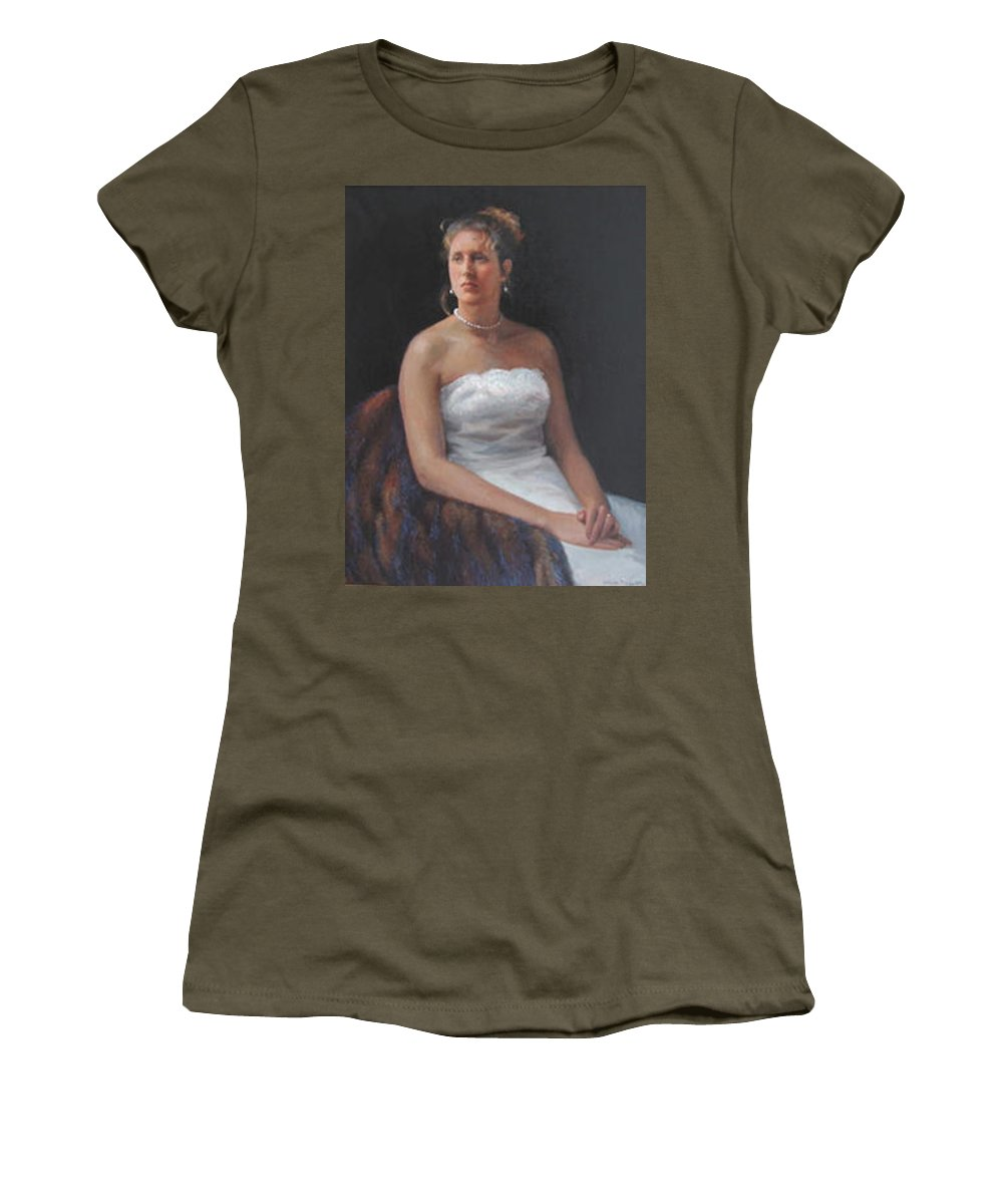 Formal Portrait Women's T-Shirt featuring the painting The Bride by Dianne Panarelli Miller