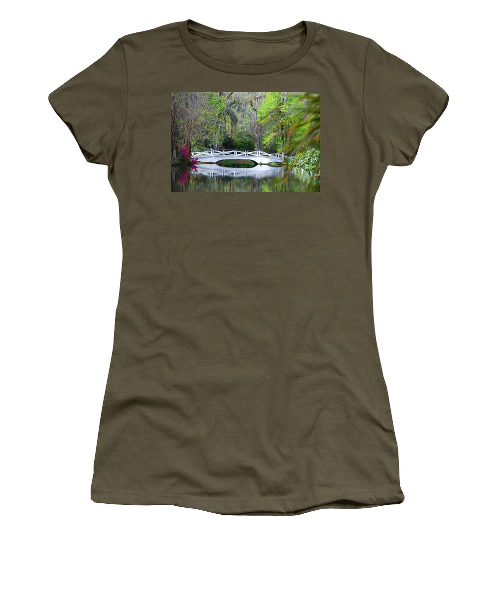 Photography Women's T-Shirt featuring the photograph The Bridges In Magnolia Gardens by Susanne Van Hulst