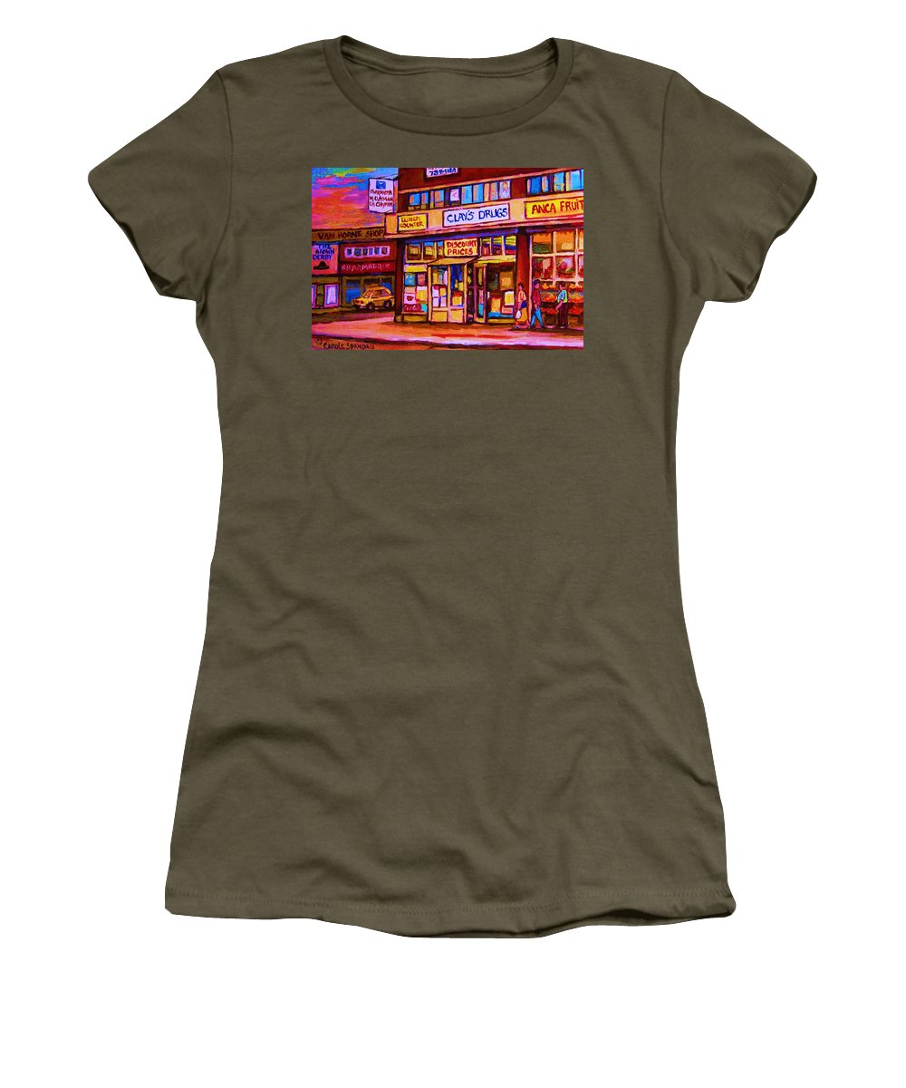 Montreal Women's T-Shirt featuring the painting The Brown Derby by Carole Spandau