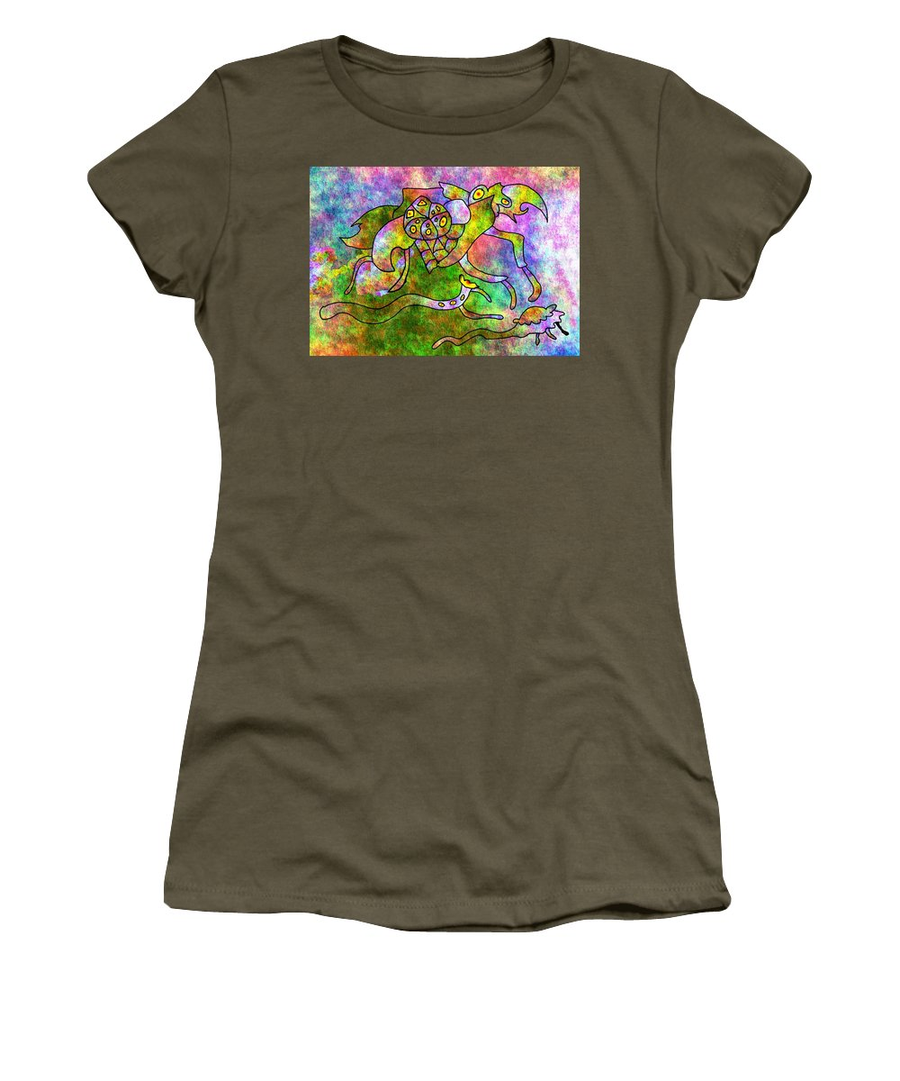 Bugs Color Texture Abstract Fun Women's T-Shirt (Athletic Fit) featuring the digital art The Bugs by Veronica Jackson
