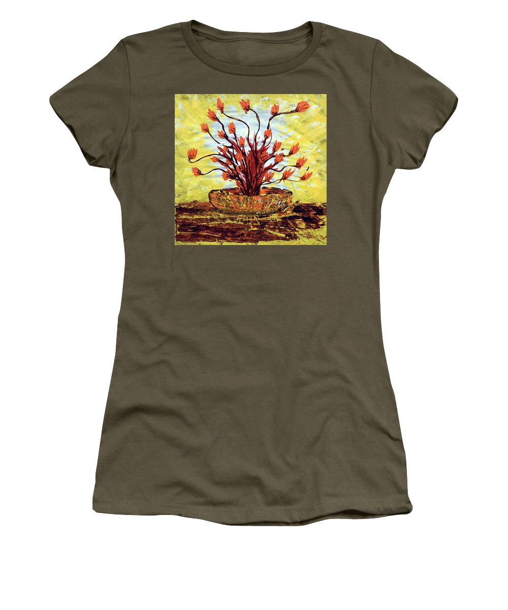 Red Bush Women's T-Shirt (Athletic Fit) featuring the painting The Burning Bush by J R Seymour