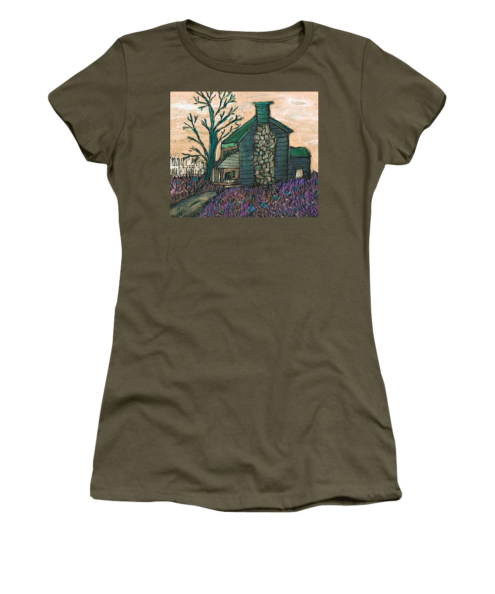 Cabin Women's T-Shirt featuring the painting The Cabin 2 by Wayne Potrafka