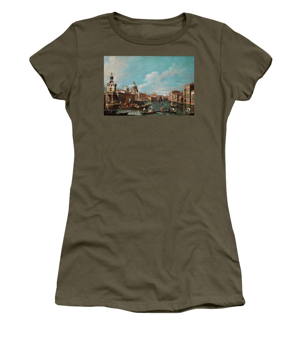 Canal Women's T-Shirt (Athletic Fit) featuring the painting The Cannament Of The Great Canal by Giovanni Antonio Canal