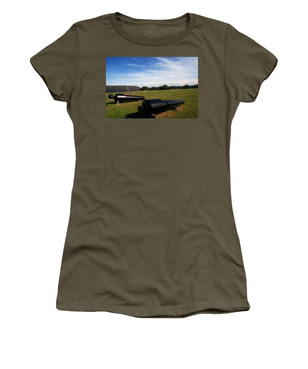 Photography Women's T-Shirt featuring the photograph The Cannons At Fort Moultrie In Charleston by Susanne Van Hulst