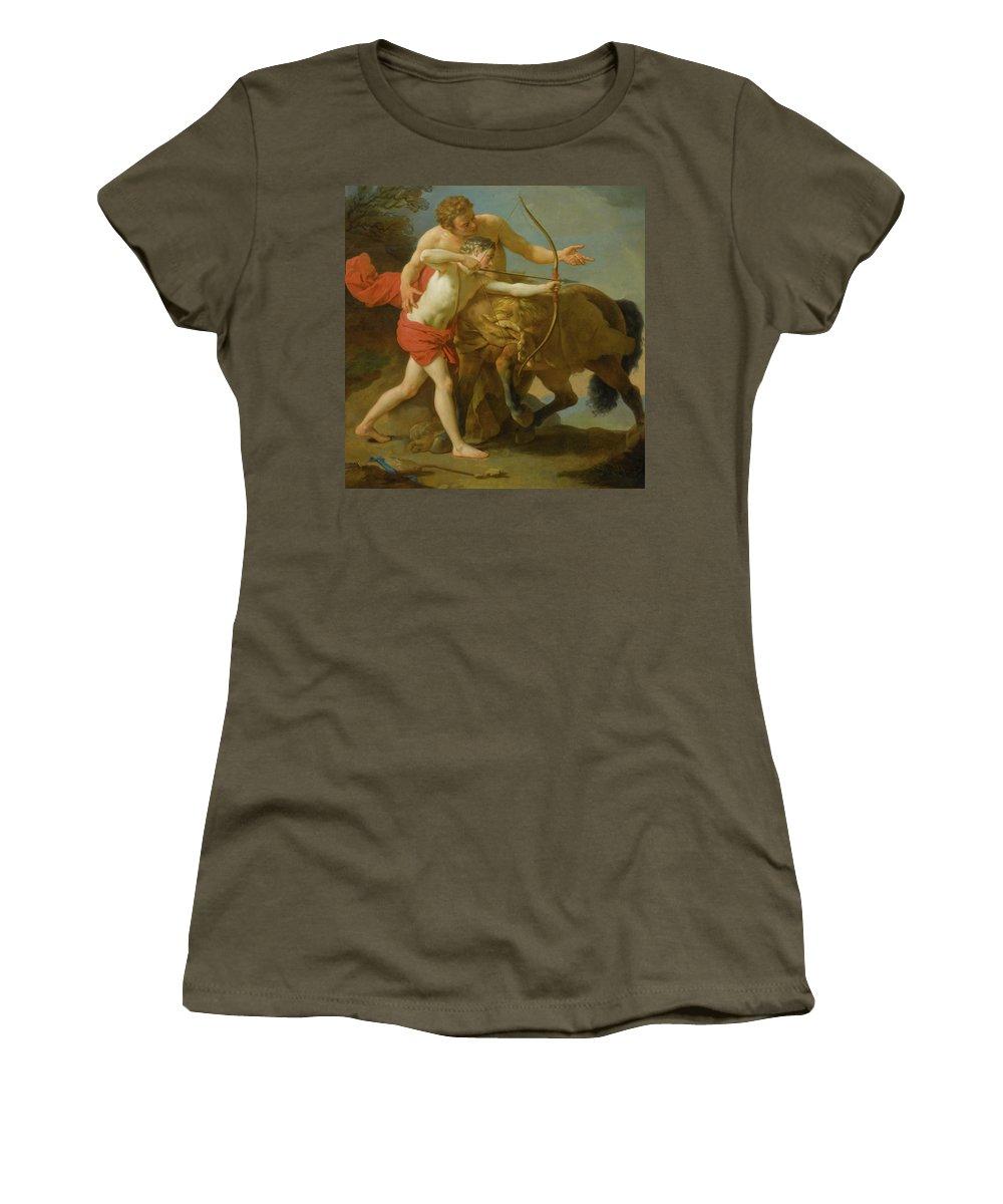 Louis Jean François Lagrenée The Centaur Chiron Instructing Achilles Women's T-Shirt (Athletic Fit) featuring the painting The Centaur Chiron by Louis Jean
