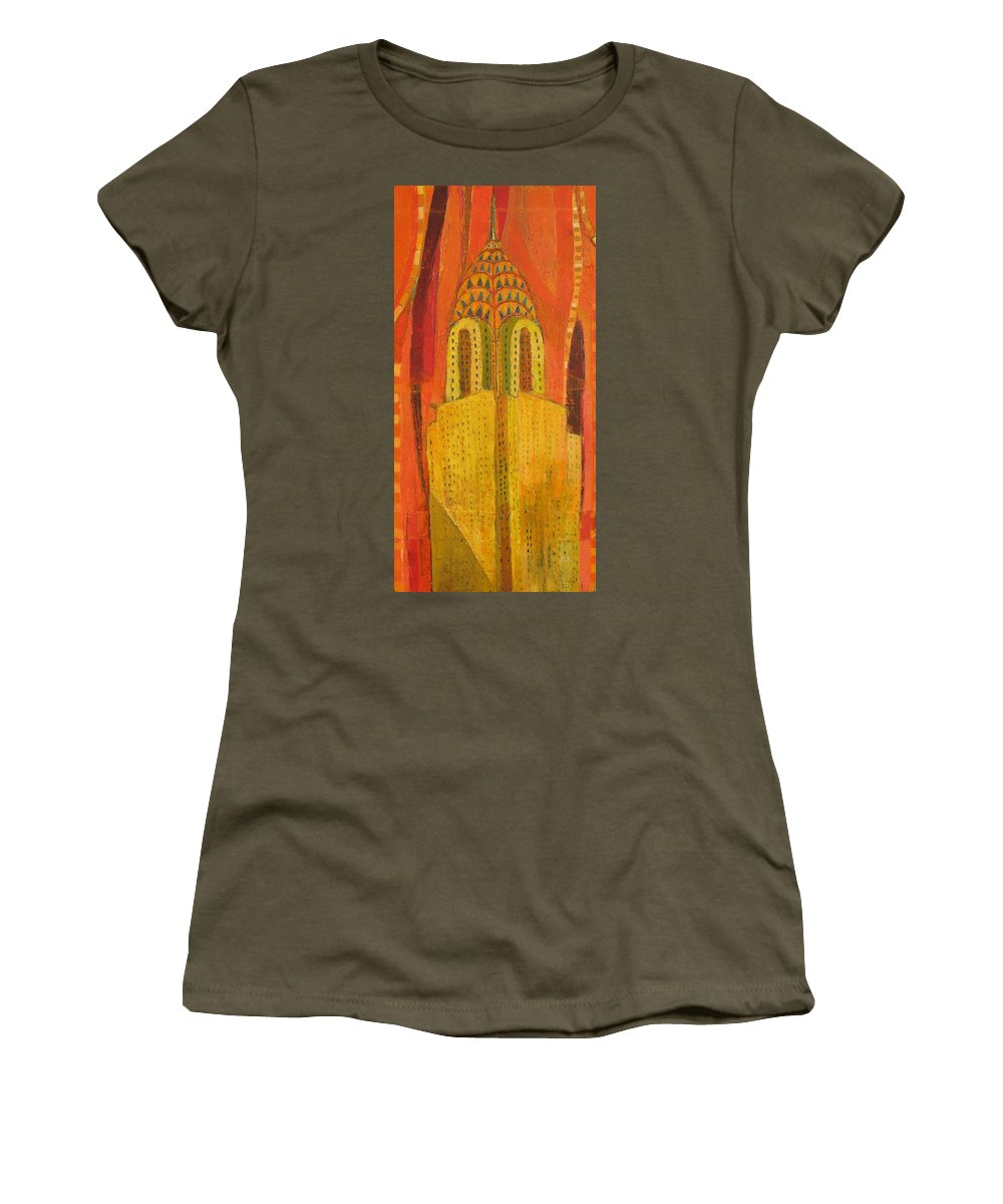 Abstract Cityscape Women's T-Shirt featuring the painting The Chrysler In Red by Habib Ayat