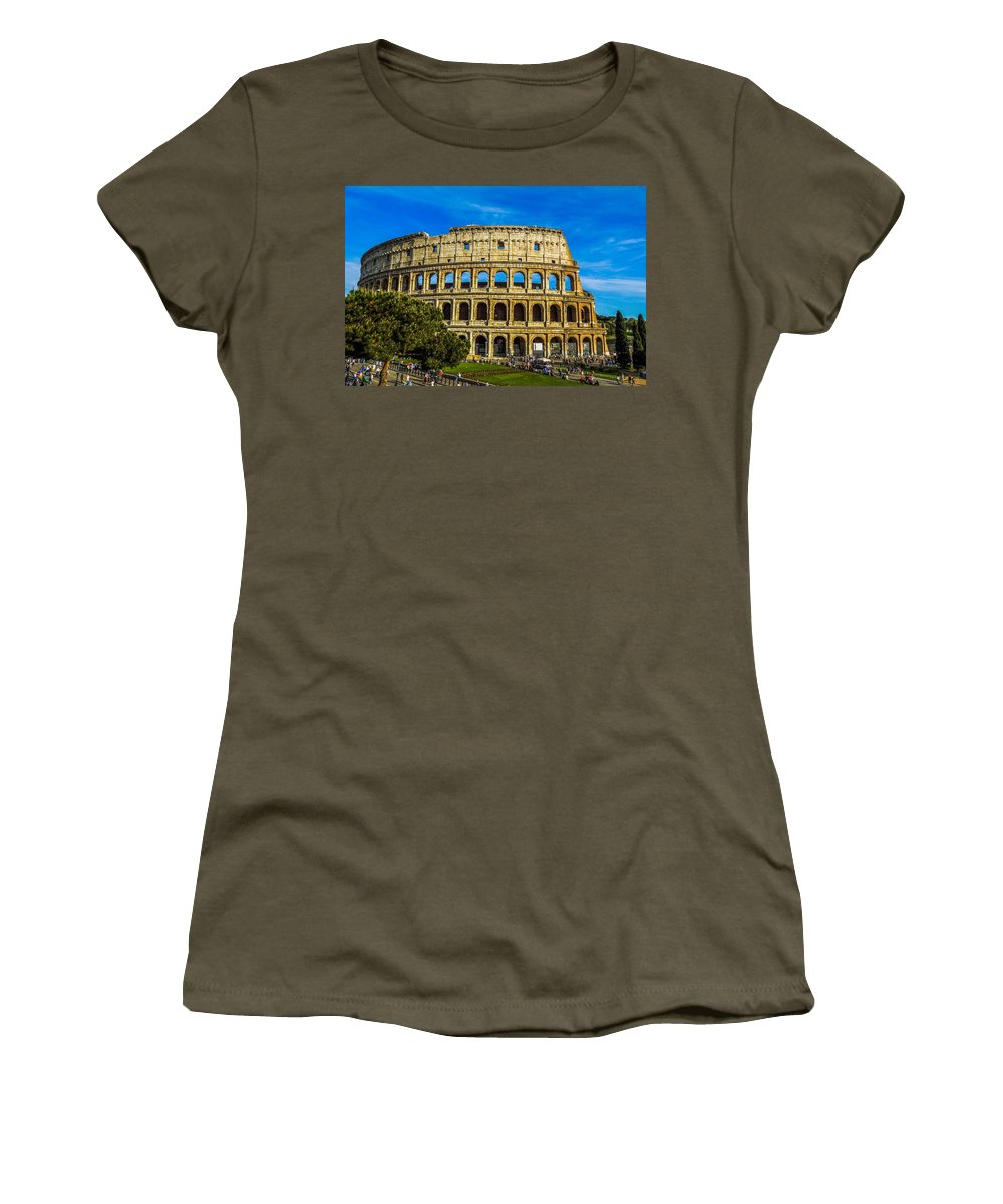 Italy Women's T-Shirt featuring the photograph The Colosseum In Rome Italy by Marilyn Burton