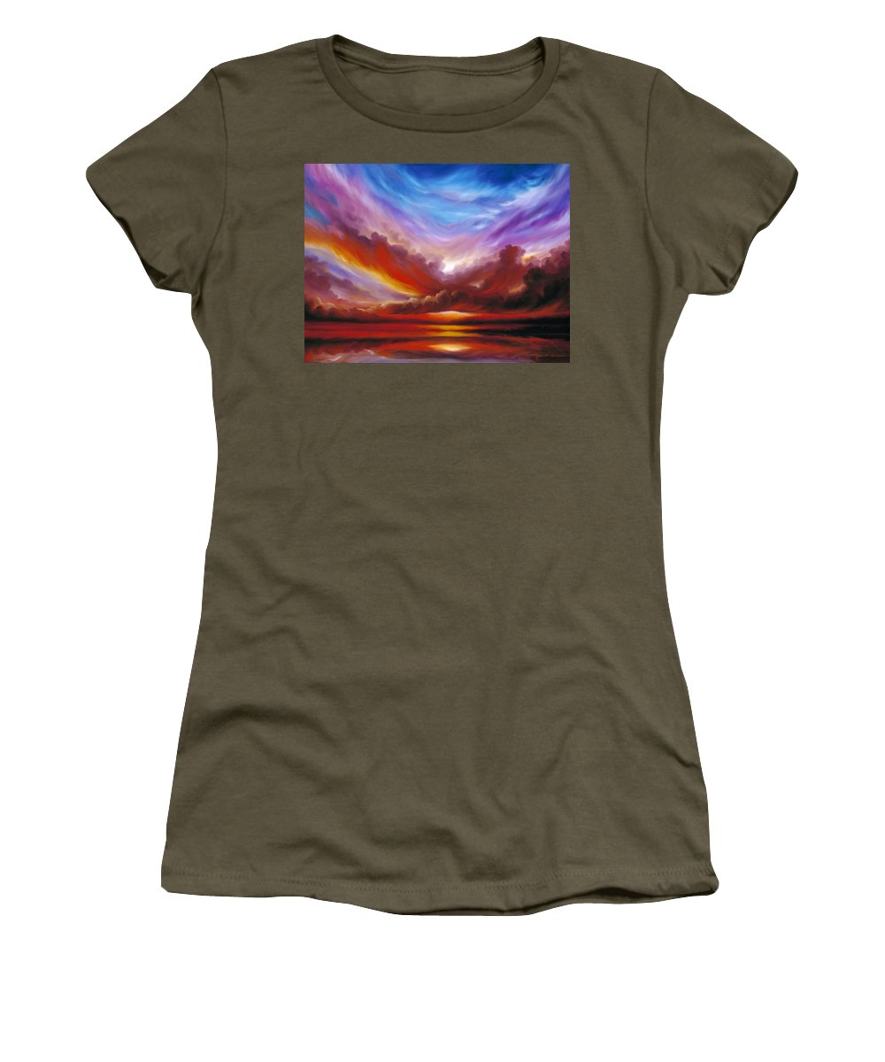 Skyscape Women's T-Shirt featuring the painting The Cosmic Storm II by James Christopher Hill