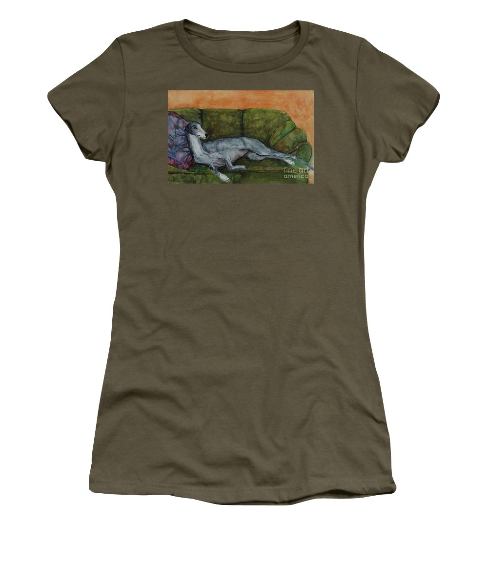 Greyhounds Women's T-Shirt (Athletic Fit) featuring the painting The Couch Potatoe by Frances Marino