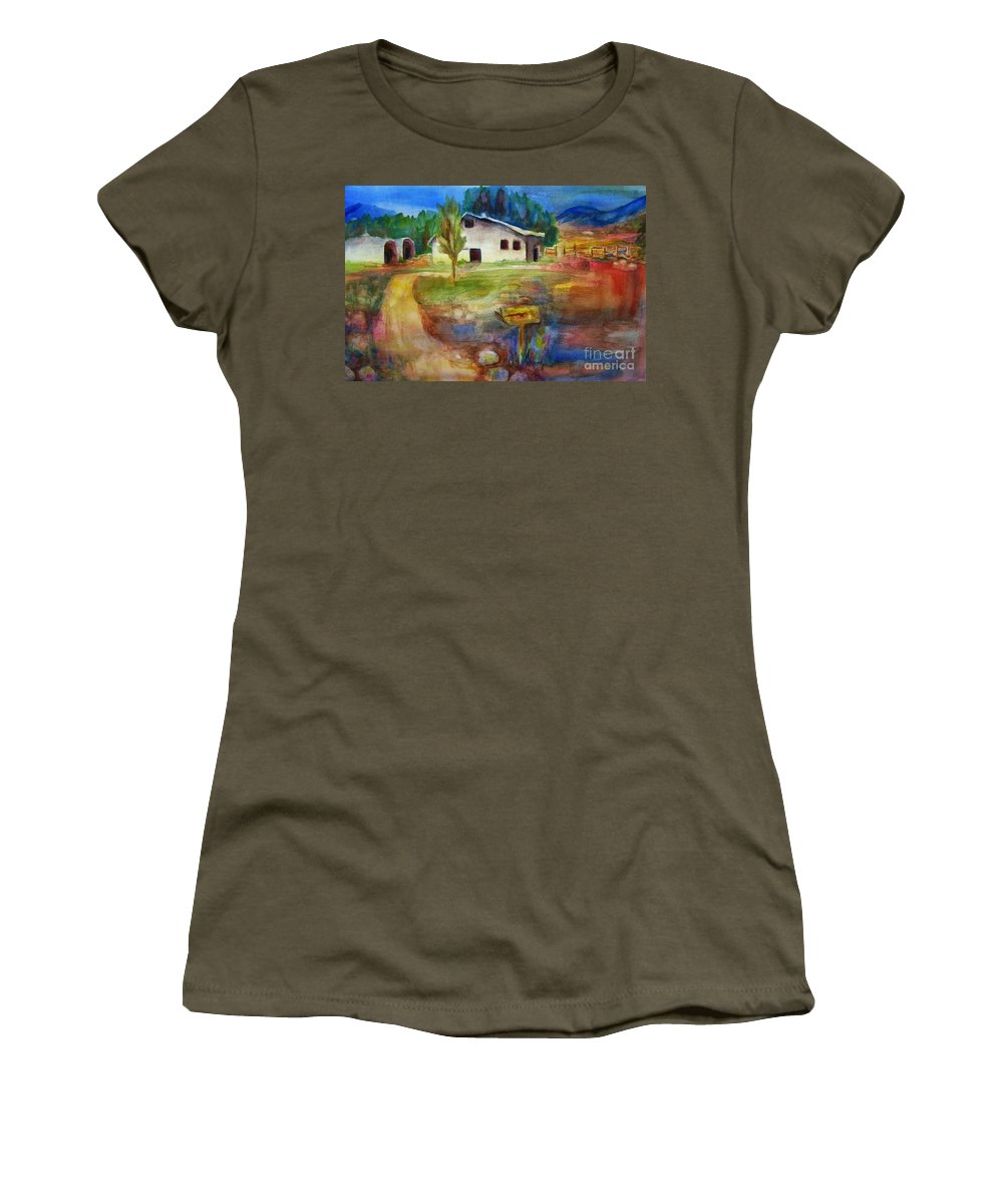 Country Barn Women's T-Shirt (Athletic Fit) featuring the painting The Country Barn by Frances Marino