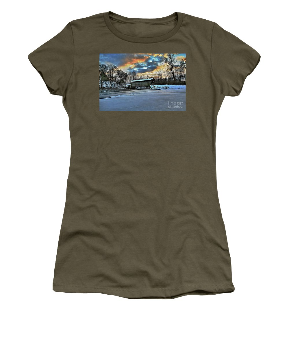 Covered Bridge Old Lumber 1870s Art Snow Winter Landscape Artistic Women's T-Shirt featuring the photograph The Covered Bridge by Robert Pearson