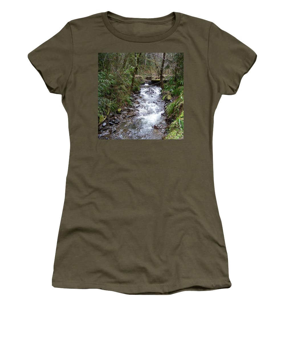 Digital Photography Women's T-Shirt (Athletic Fit) featuring the photograph The Creek by Laurie Kidd