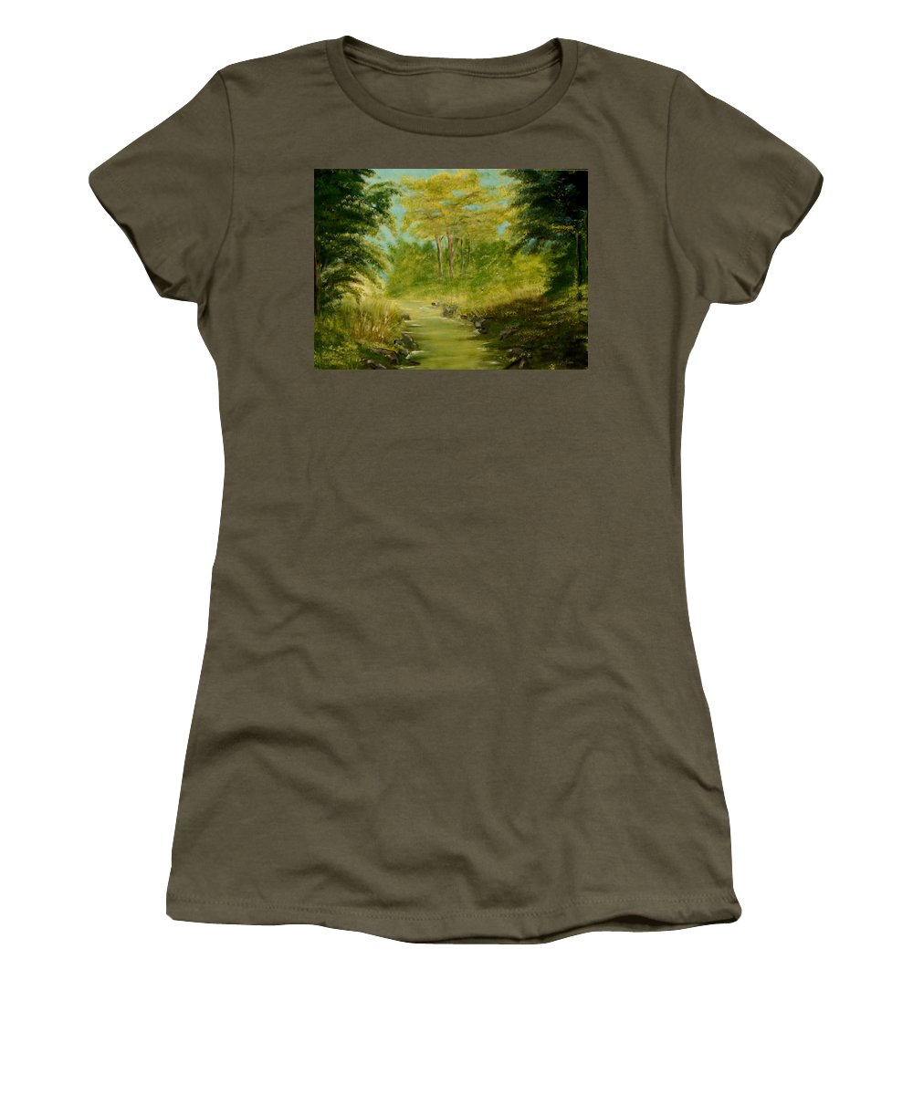 Water River Creek Nature Trees Landscape Women's T-Shirt (Athletic Fit) featuring the painting The Creek by Veronica Jackson