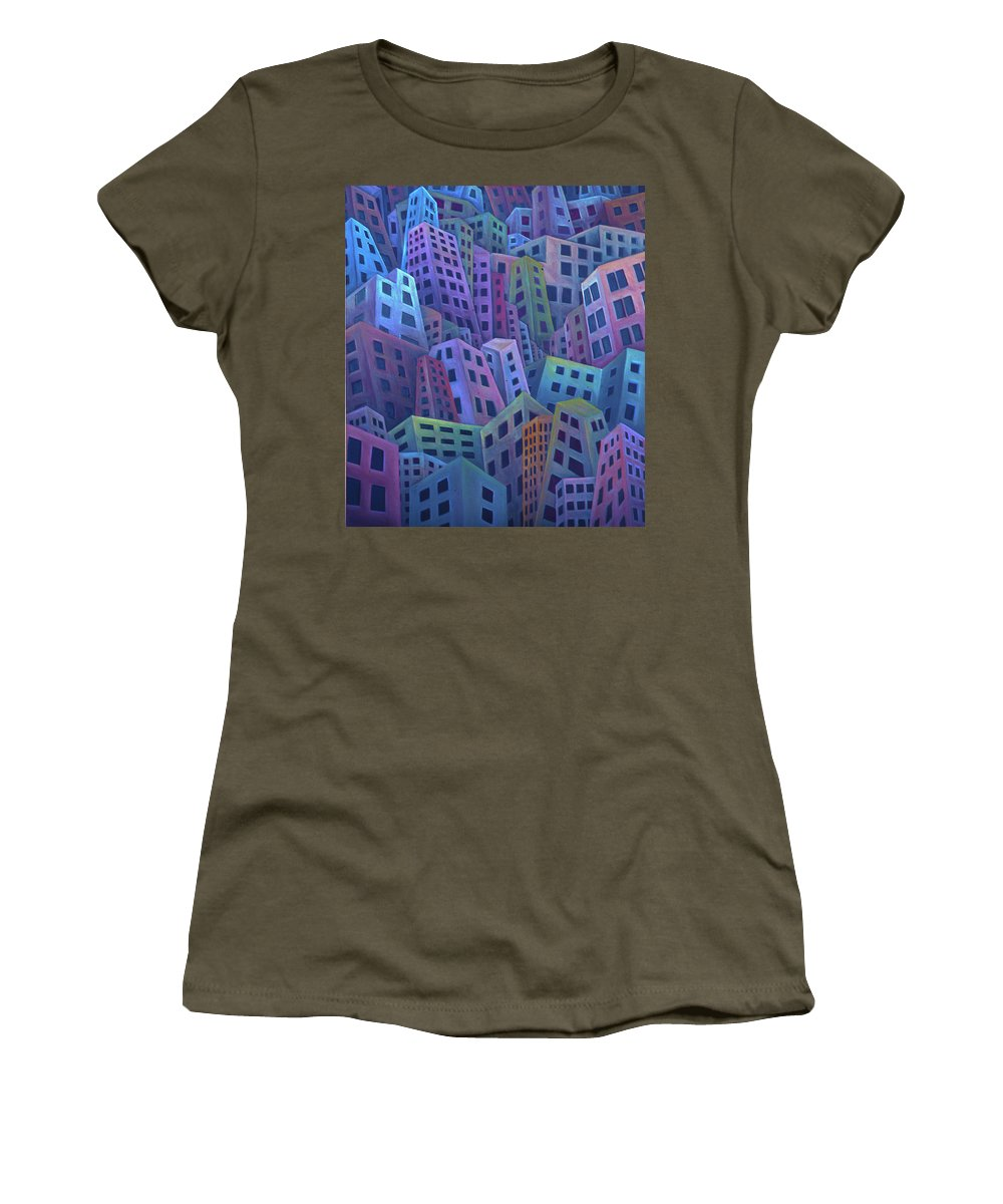 City Life Women's T-Shirt featuring the painting The Crowded City by Rod Whyte