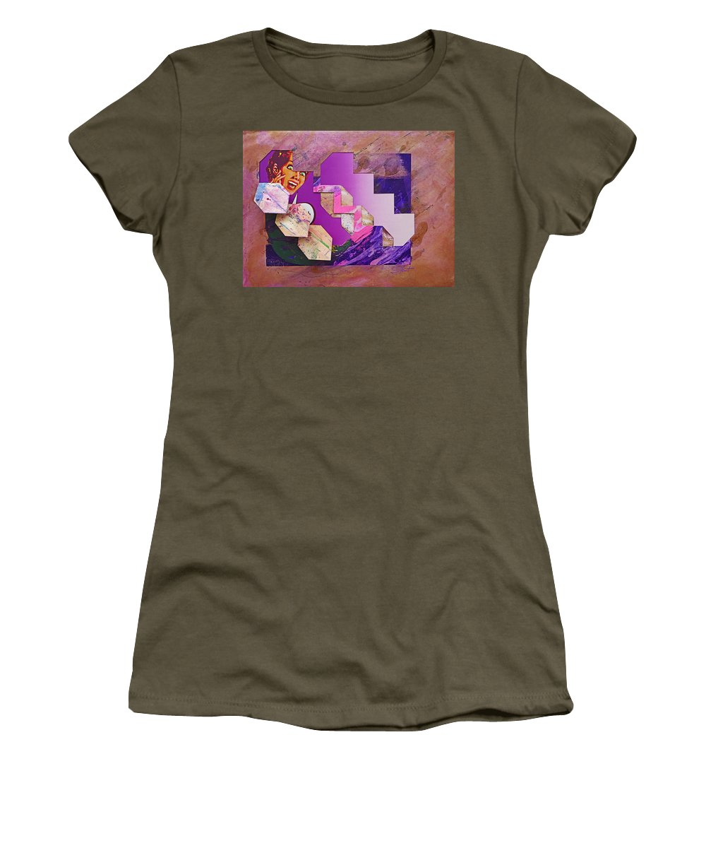 Psycho Women's T-Shirt (Athletic Fit) featuring the mixed media The Cubist Scream by Charles Stuart