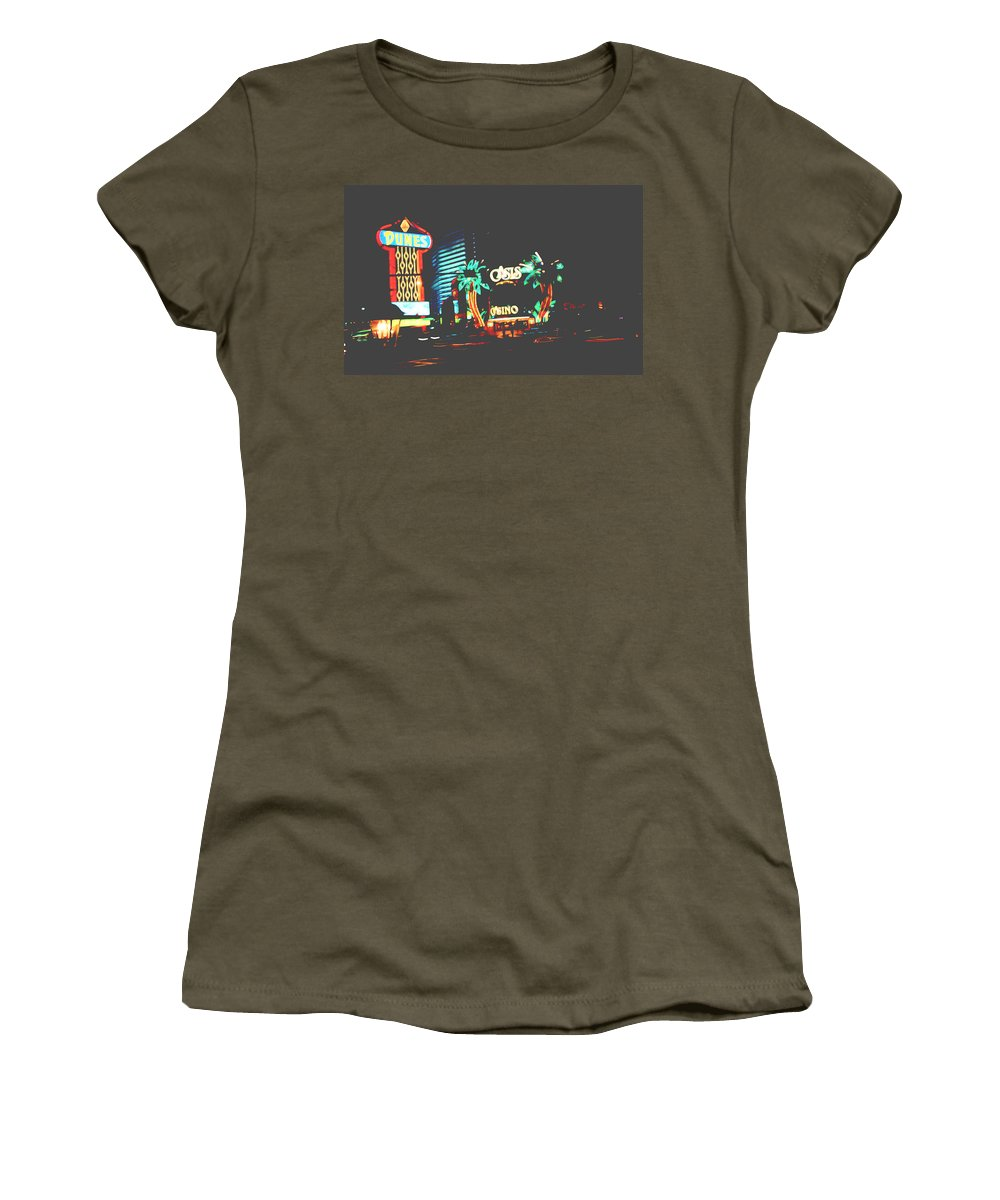 Women's T-Shirt featuring the digital art The Dunes Casino by Cathy Anderson