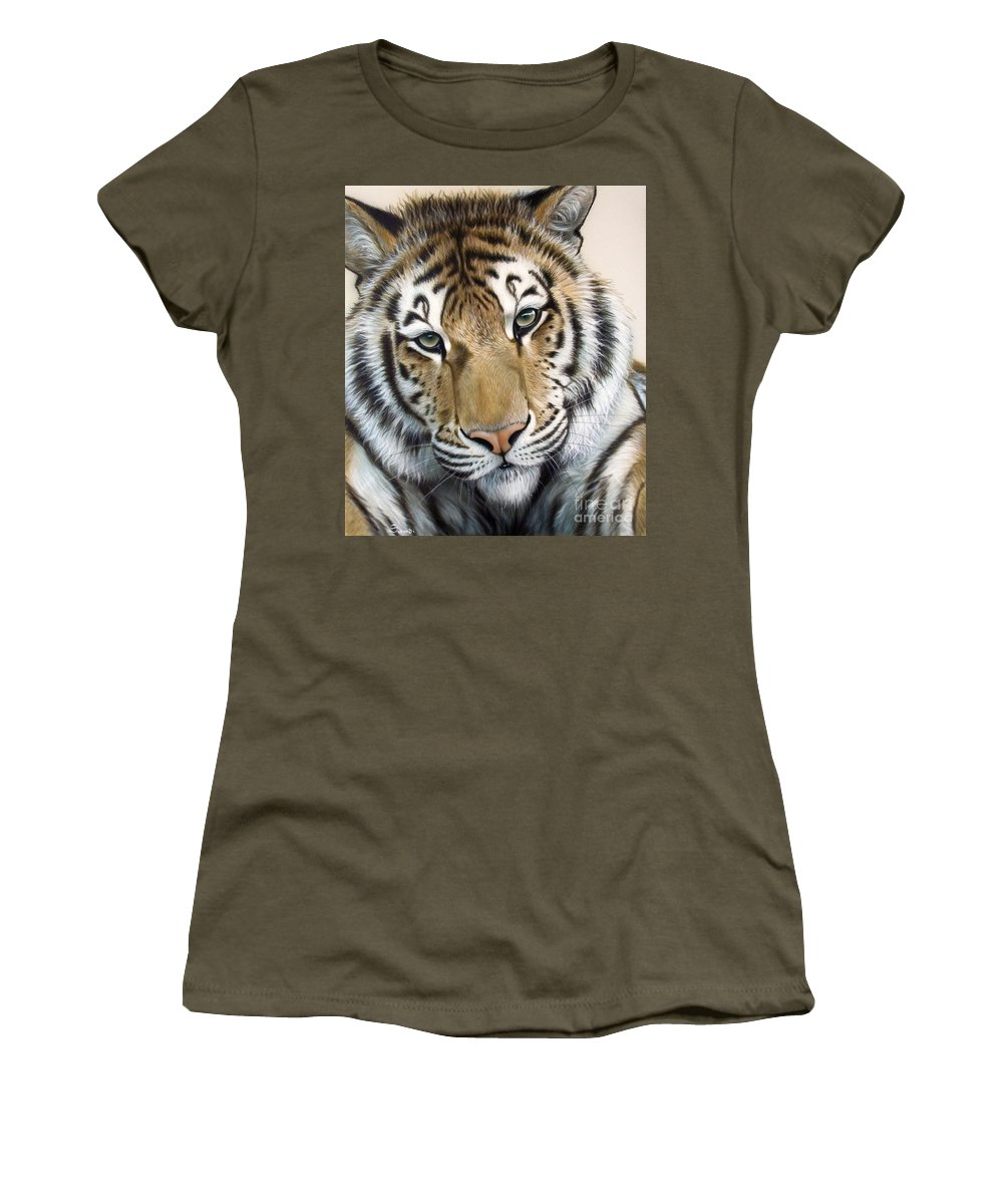 Acrylic Women's T-Shirt (Athletic Fit) featuring the painting The Embrace by Sandi Baker
