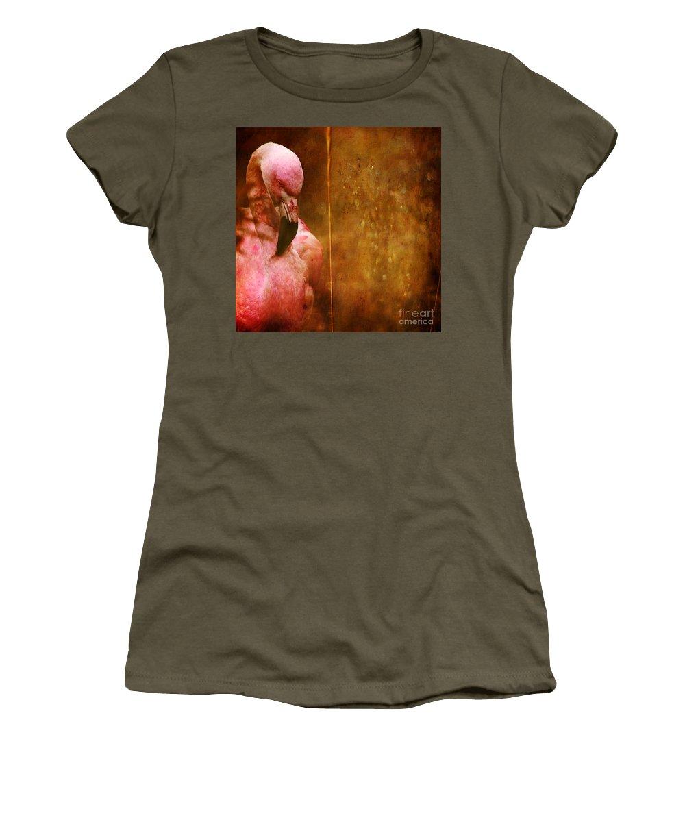 Flamingo Women's T-Shirt featuring the photograph The Flamingo by Angel Ciesniarska