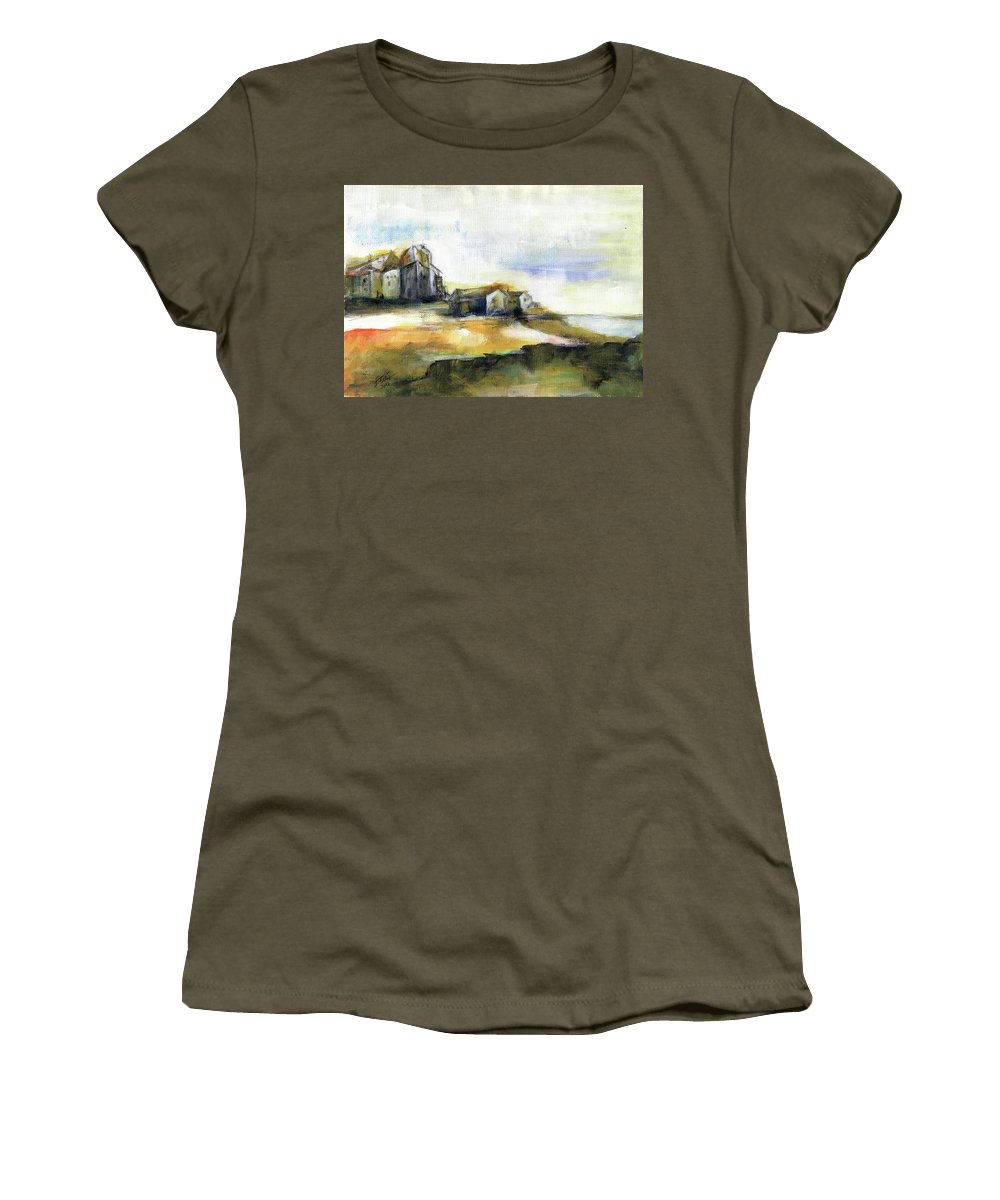 Abstract Landscape Women's T-Shirt featuring the painting The Fortress by Aniko Hencz