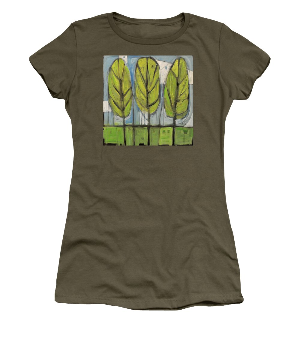 Trees Women's T-Shirt featuring the painting the Four Seasons - spring by Tim Nyberg