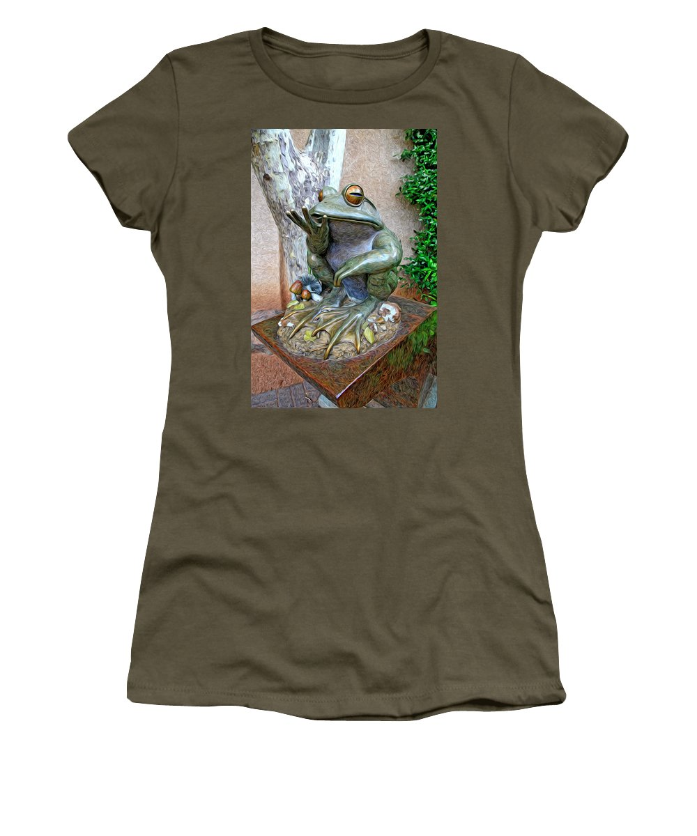 Fine Art Frog Photography. Frog Art. Wall Art Photography. Mixed Media Photography. Mixed Media Note Cards. Mixed Media Greeing Cards. Colord Frogs. Painted Frogs. Wall Art Frogs. Fine Art Frogs. Frogs. Fish. Water. Ponds. Frog Ponds. Water Fountion. Trees. Wall. Women's T-Shirt featuring the photograph The Frog by James Steele