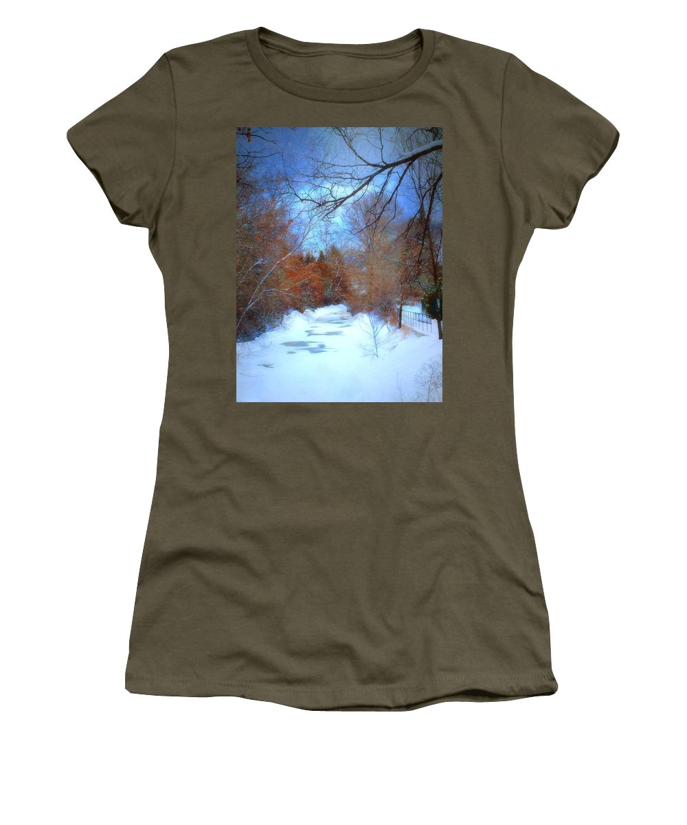 Snow Women's T-Shirt featuring the photograph The Frozen Creek by Tara Turner