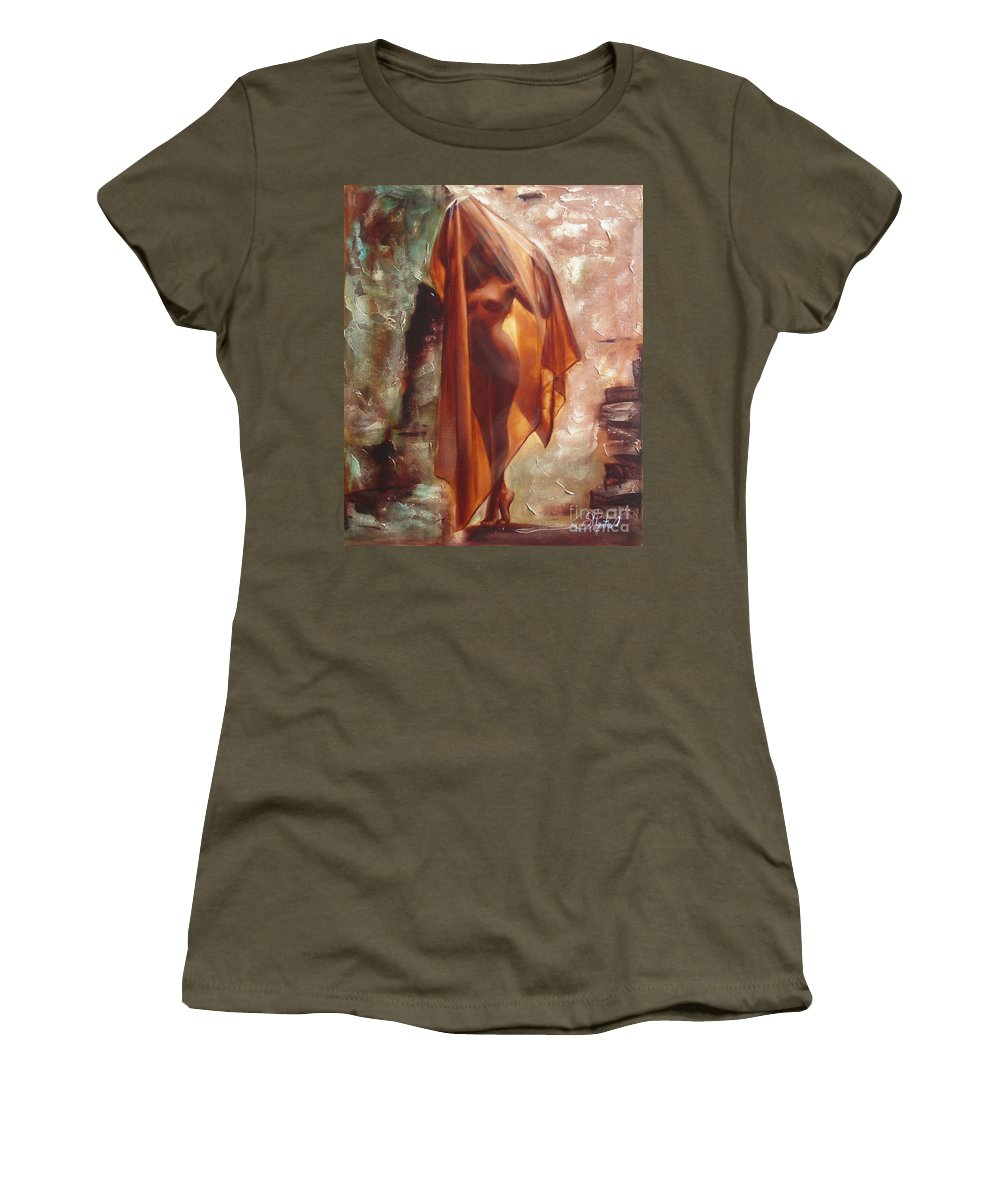 Ignatenko Women's T-Shirt (Athletic Fit) featuring the painting The Garden Of Stones by Sergey Ignatenko