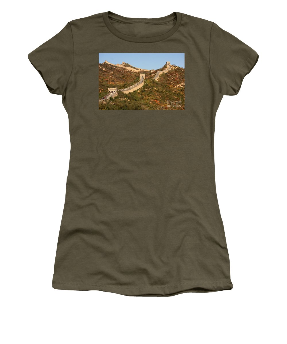The Great Wall Of China Women's T-Shirt featuring the photograph The Great Wall On Beautiful Autumn Day by Carol Groenen