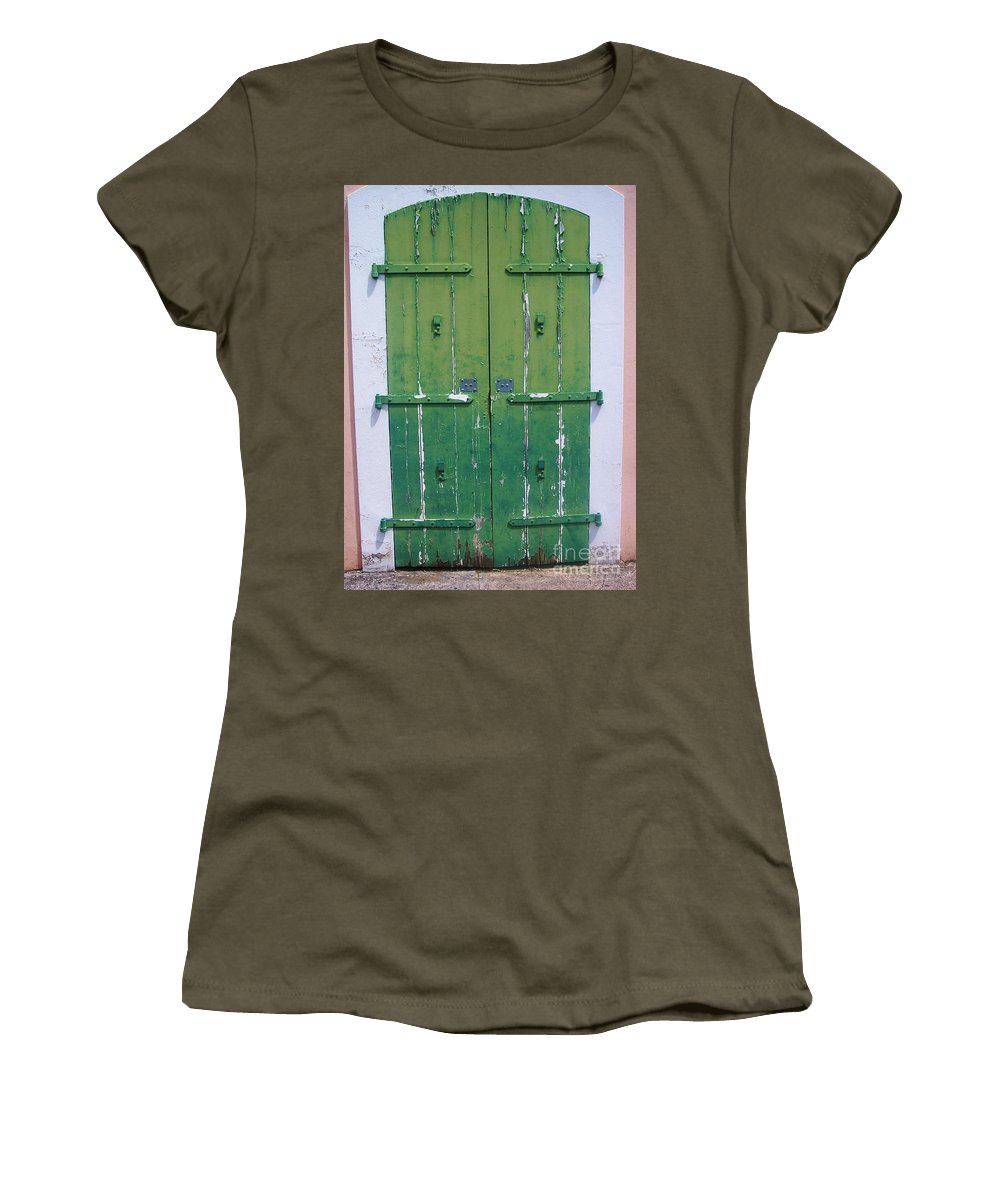 Architecture Women's T-Shirt featuring the photograph The Green Door by Debbi Granruth
