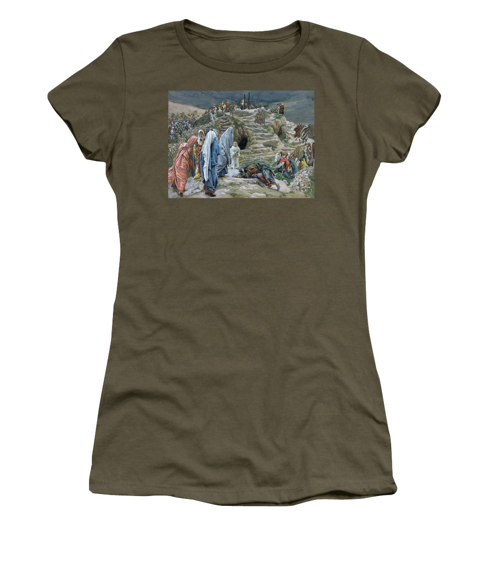 Tissot Women's T-Shirt (Athletic Fit) featuring the painting The Holy Women Stand Far Off Beholding What Is Done by James Jacques Joseph Tissot