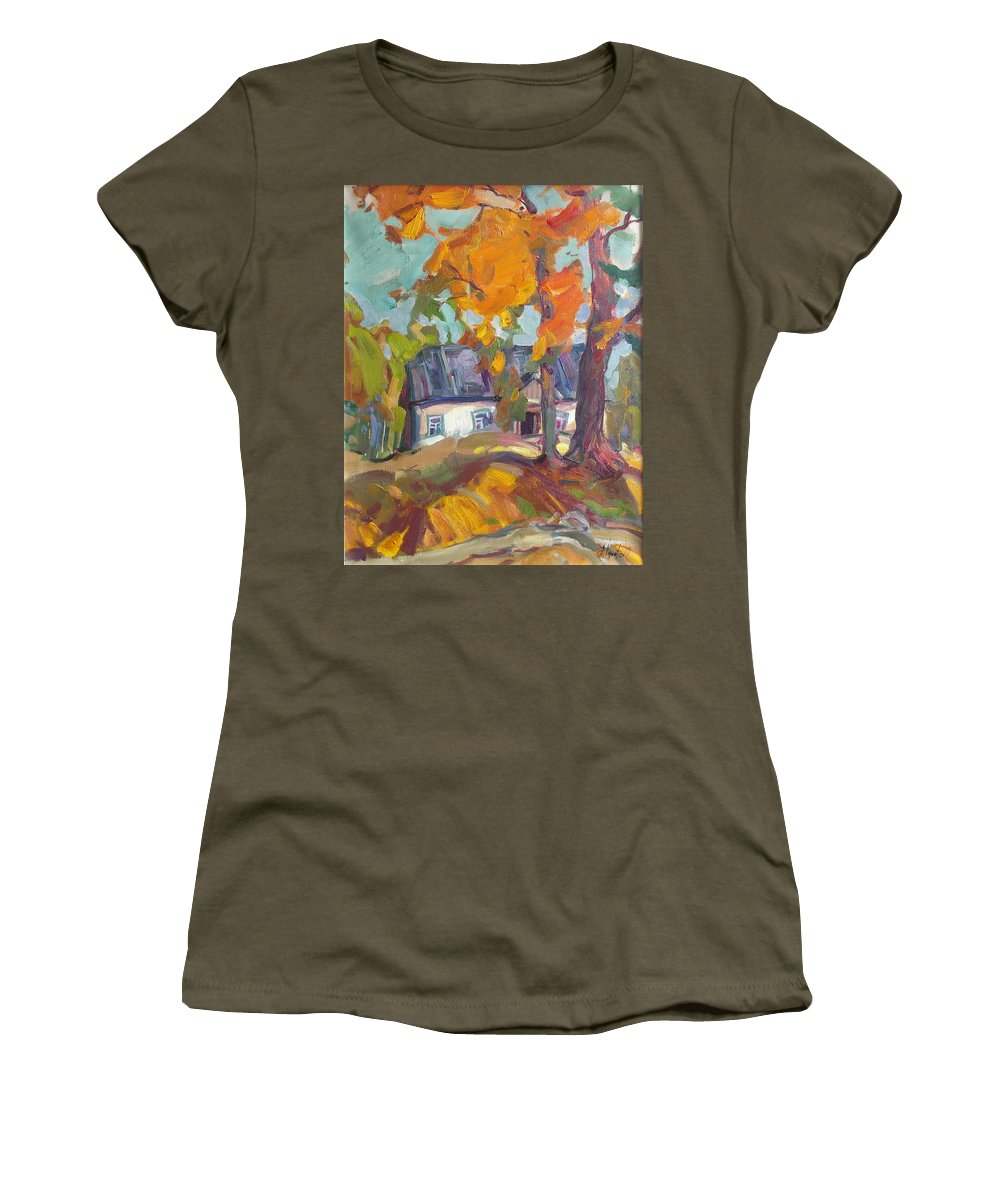 Oil Women's T-Shirt featuring the painting The House In Chervonka Village by Sergey Ignatenko