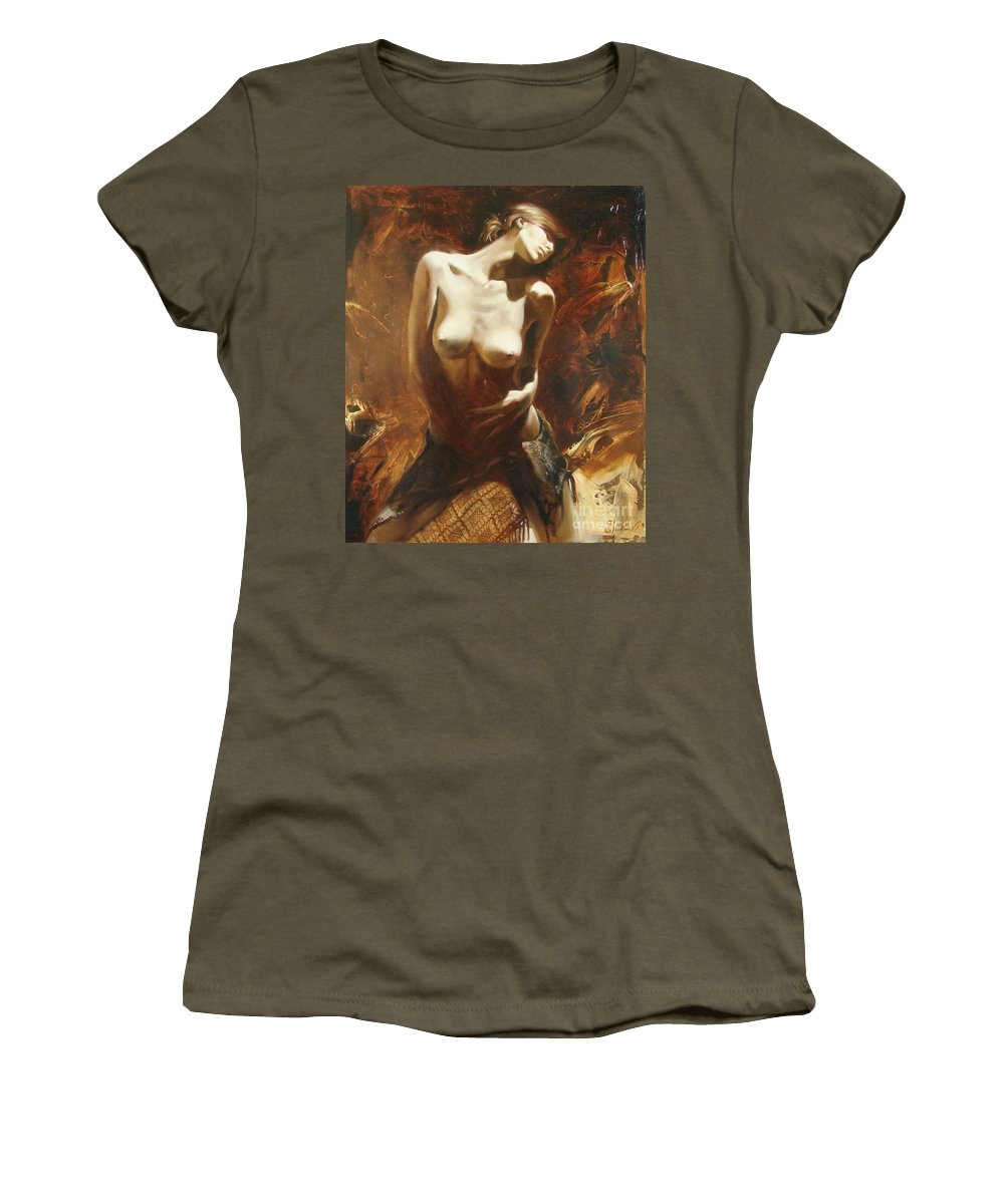Oil Women's T-Shirt (Athletic Fit) featuring the painting The Incinerating Passion by Sergey Ignatenko