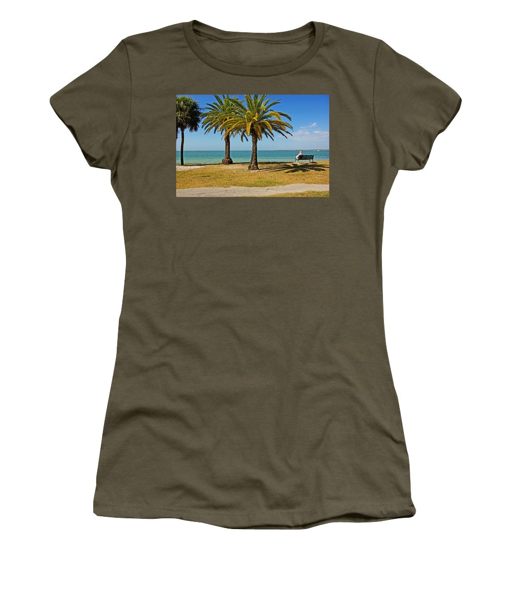 Sea Women's T-Shirt (Athletic Fit) featuring the photograph The Joy Of Sea And Palms by Zal Latzkovich
