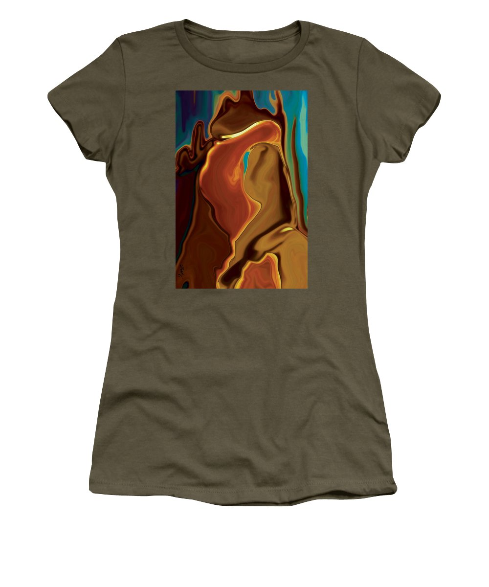 Abstract Art Blue Brown Digital Embrace Figurative Girl Green Kiss Love Man Night Passion Rabi_khan Women's T-Shirt (Athletic Fit) featuring the digital art The Kiss by Rabi Khan