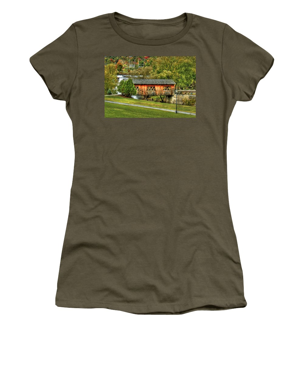 Covered Bridge Women's T-Shirt featuring the photograph The Kissing Bridge by Evelina Kremsdorf