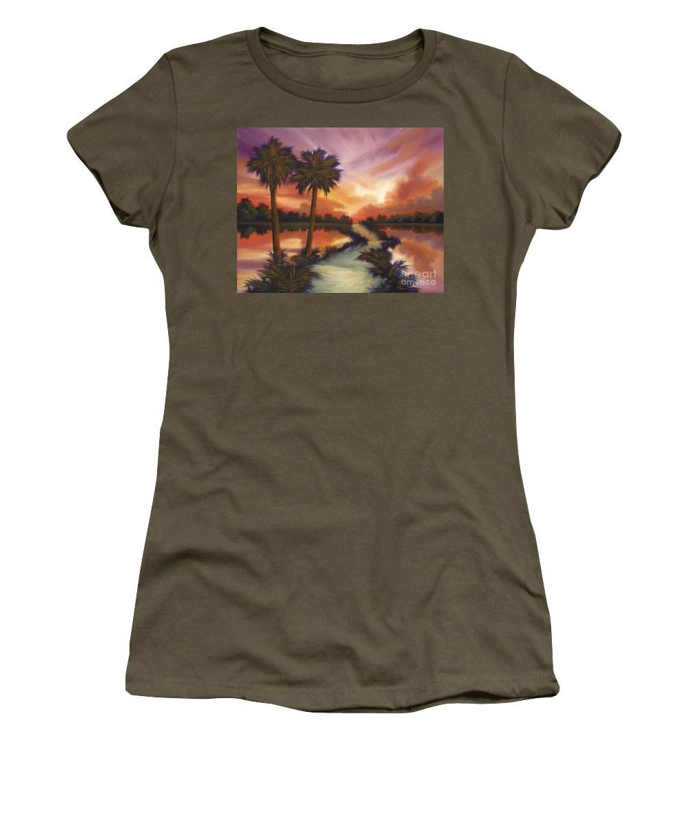 Skyscape Women's T-Shirt (Athletic Fit) featuring the painting The Lane Ahead by James Christopher Hill