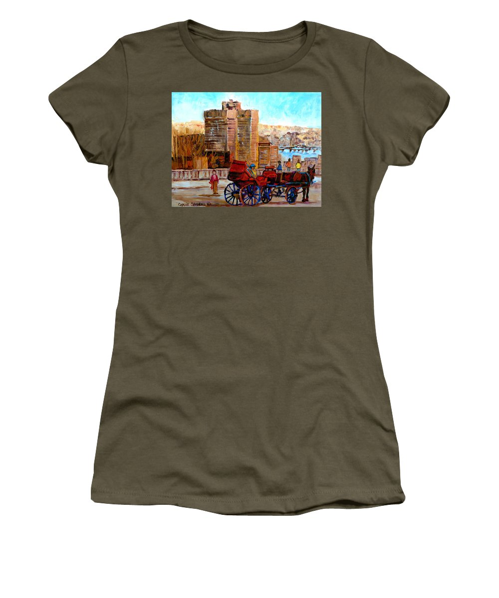 Montreal Street Scene Women's T-Shirt (Athletic Fit) featuring the painting The Lookout On Mount Royal Montreal by Carole Spandau