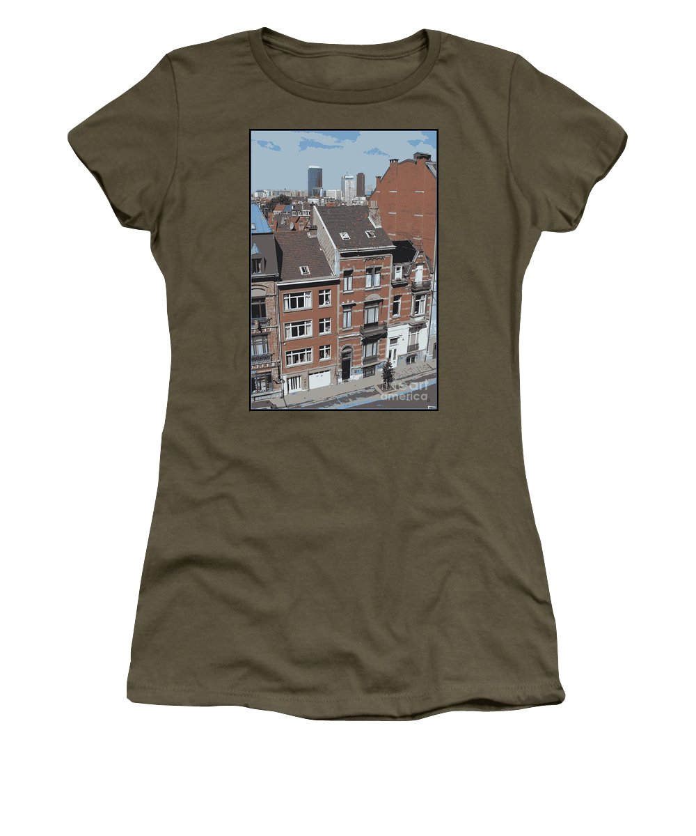 Brussels Women's T-Shirt featuring the photograph The Many Layers Of Brussels by Carol Groenen