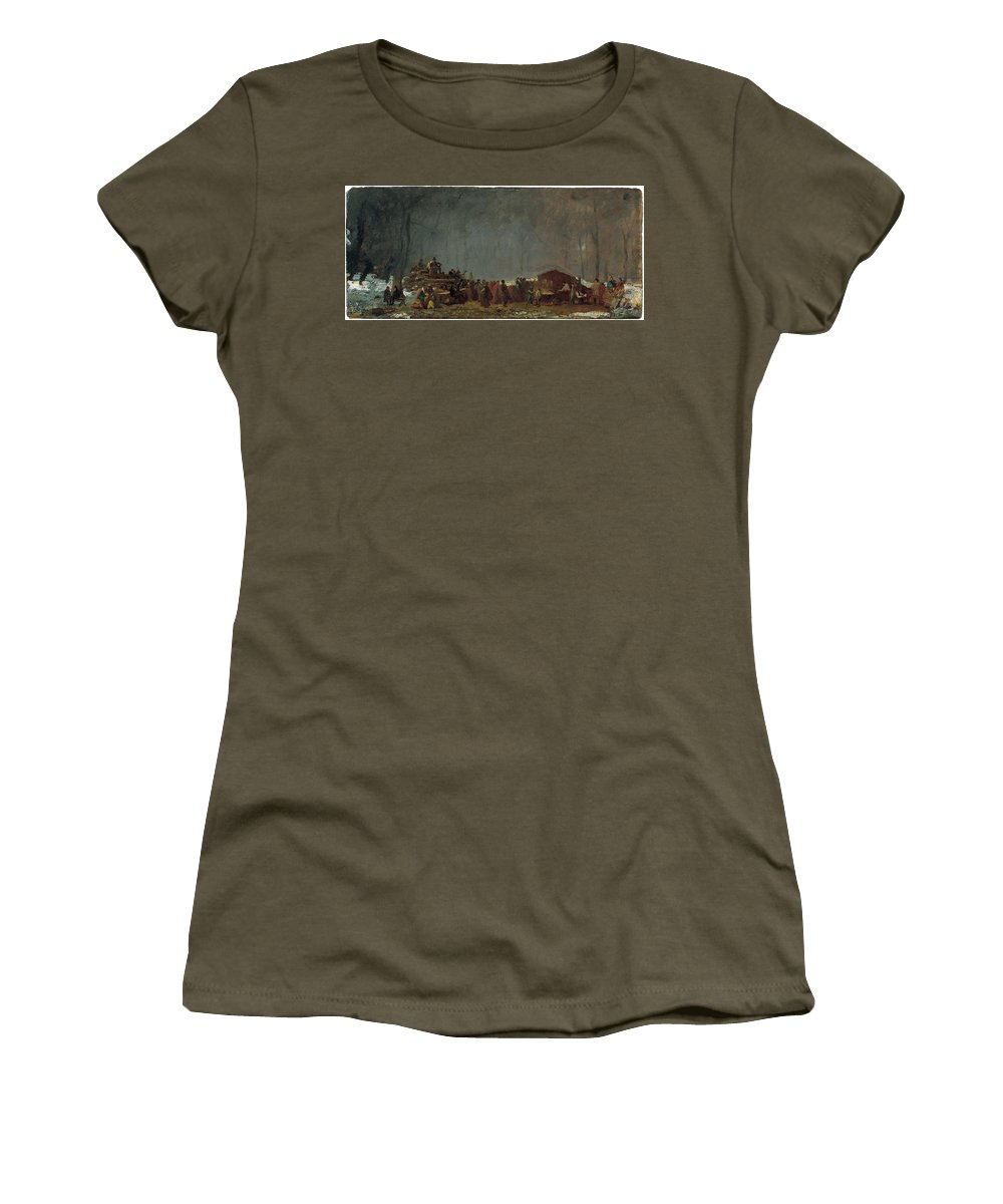 Jonathan Eastman Johnson - The Maple Sugar Camp Turning Off Women's T-Shirt (Athletic Fit) featuring the painting The Maple Sugar Camp Turning Off by MotionAge Designs