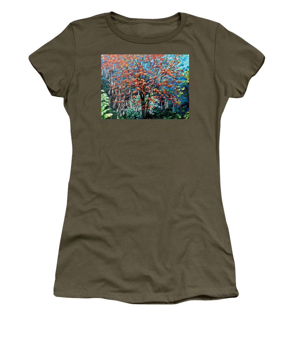 Tree Painting Mountain Painting Floral Painting Caribbean Painting Original Painting Of Immortelle Tree Painting  With Nesting Corn Oropendula Birds Painting In Northern Mountains Of Trinidad And Tobago Painting Women's T-Shirt (Athletic Fit) featuring the painting The Mighty Immortelle by Karin Dawn Kelshall- Best