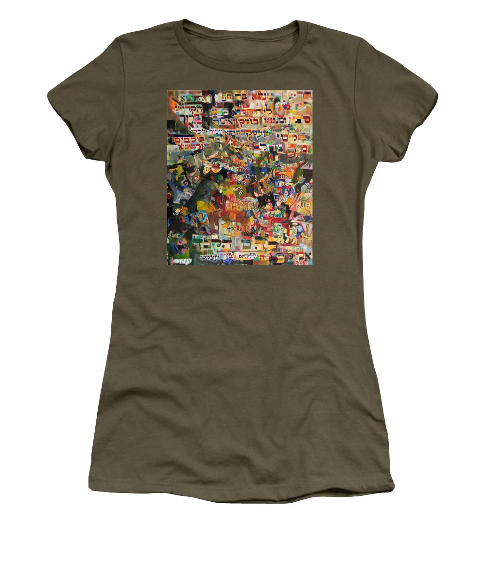 Jewish Art Women's T-Shirt featuring the painting The Nations' Claim by David Baruch Wolk