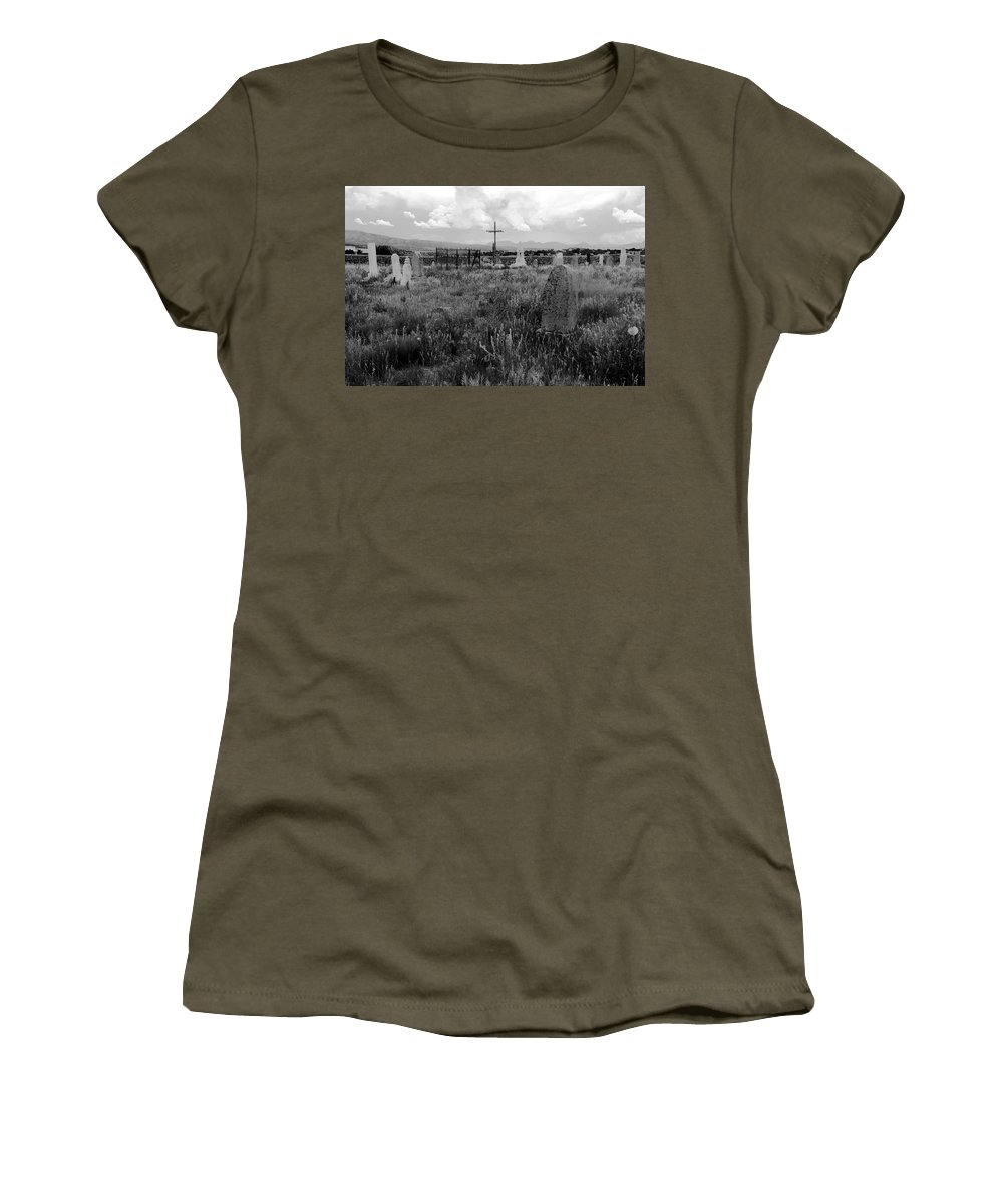 Galisteo New Mexico Women's T-Shirt featuring the photograph The Old Cemetery At Galisteo by David Lee Thompson